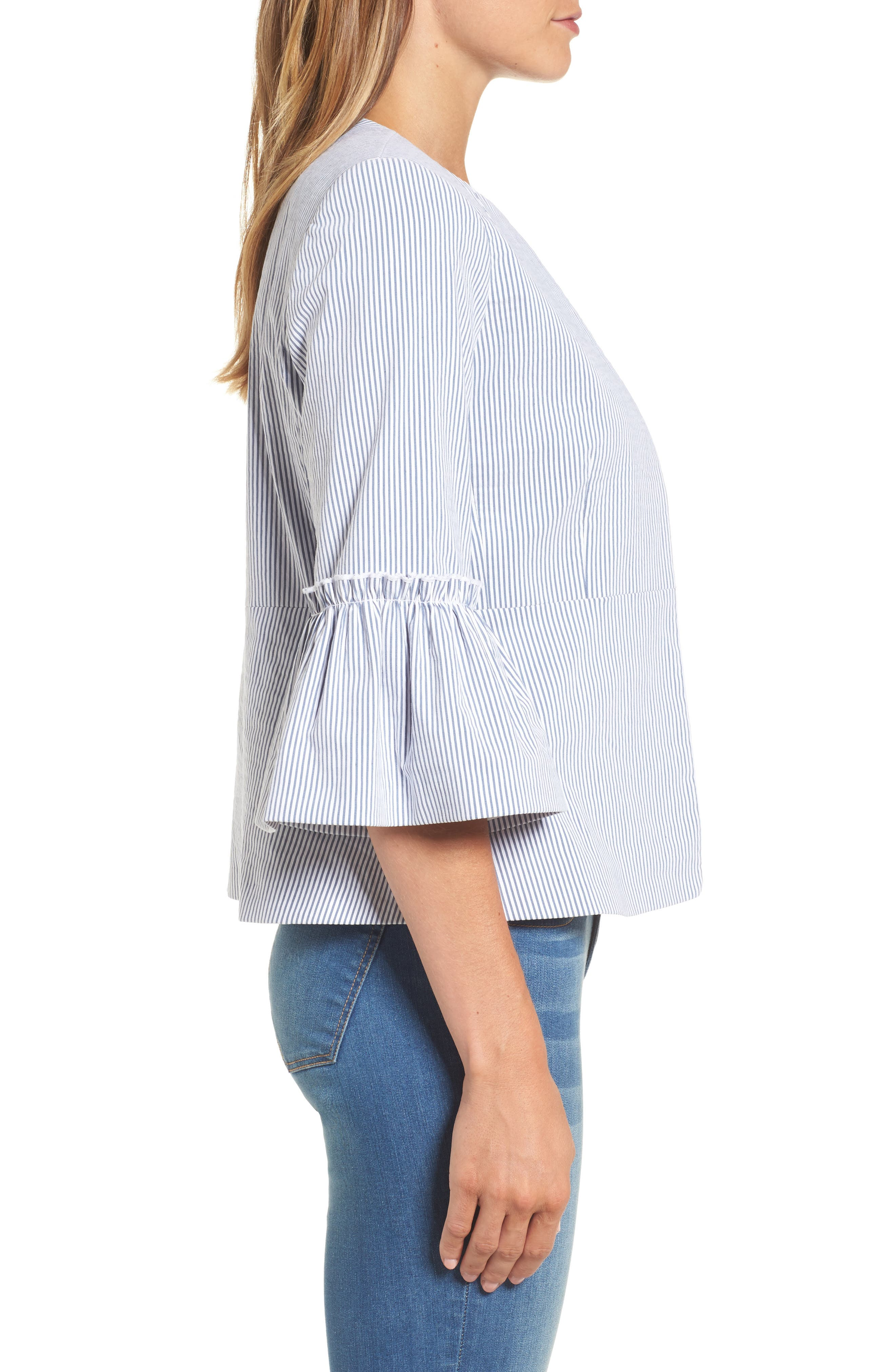 Ruffle Sleeve Open Jacket,                             Alternate thumbnail 3, color,                             Blue- White Seersucker