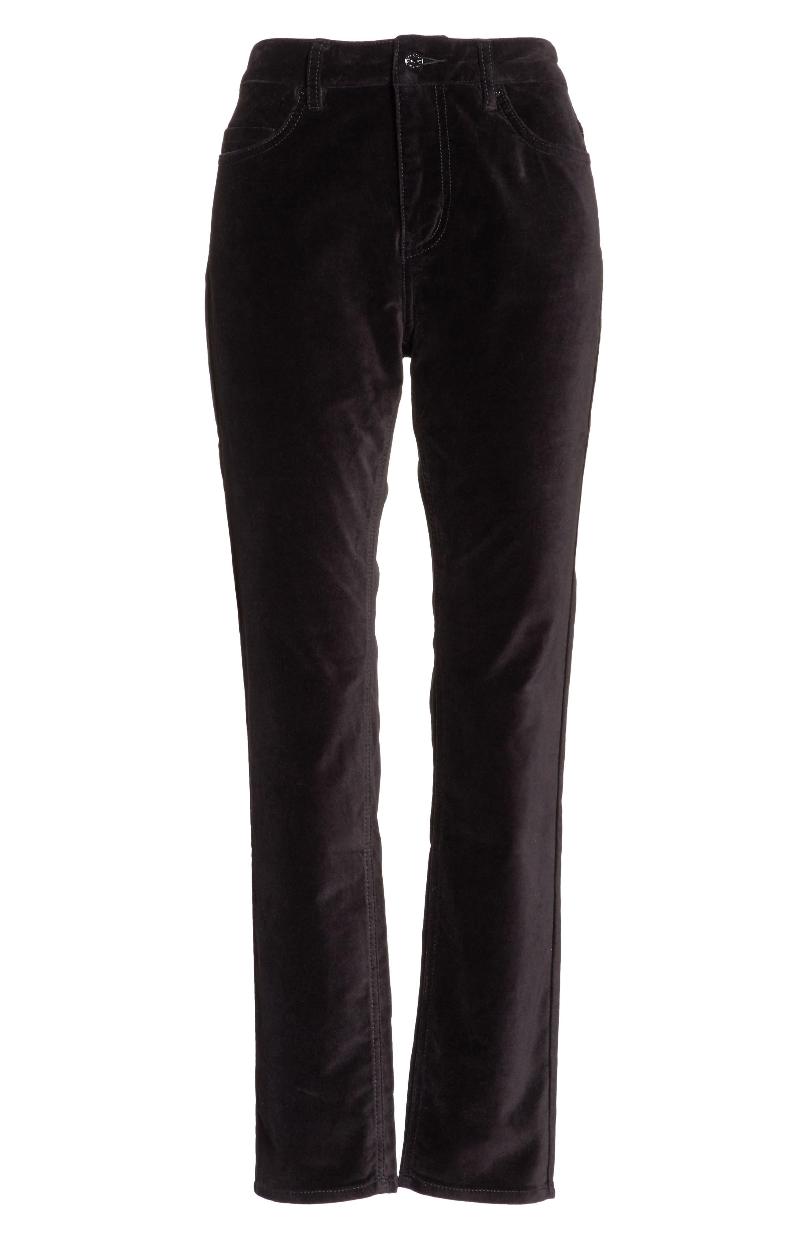 stretch velveteen ankle pants,                             Alternate thumbnail 6, color,                             Black
