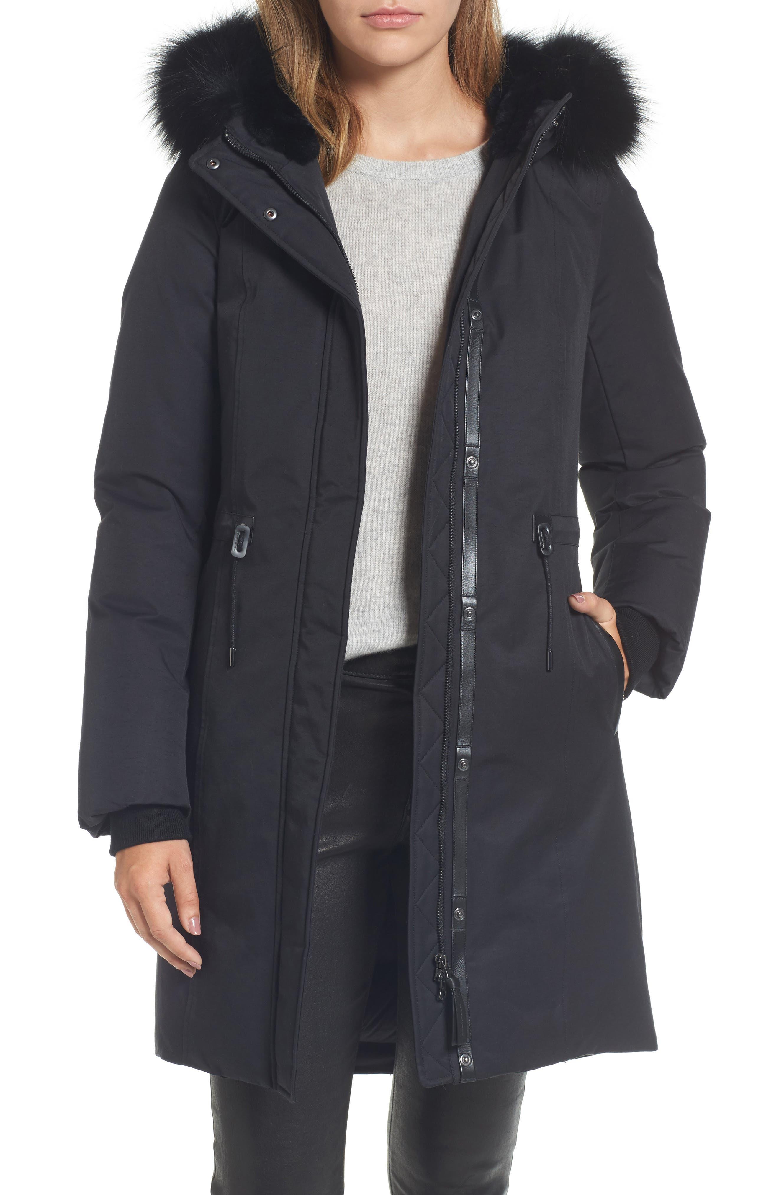 Down Hooded Anorak with Genuine Fox & Rabbit Fur Trim,                         Main,                         color, Black