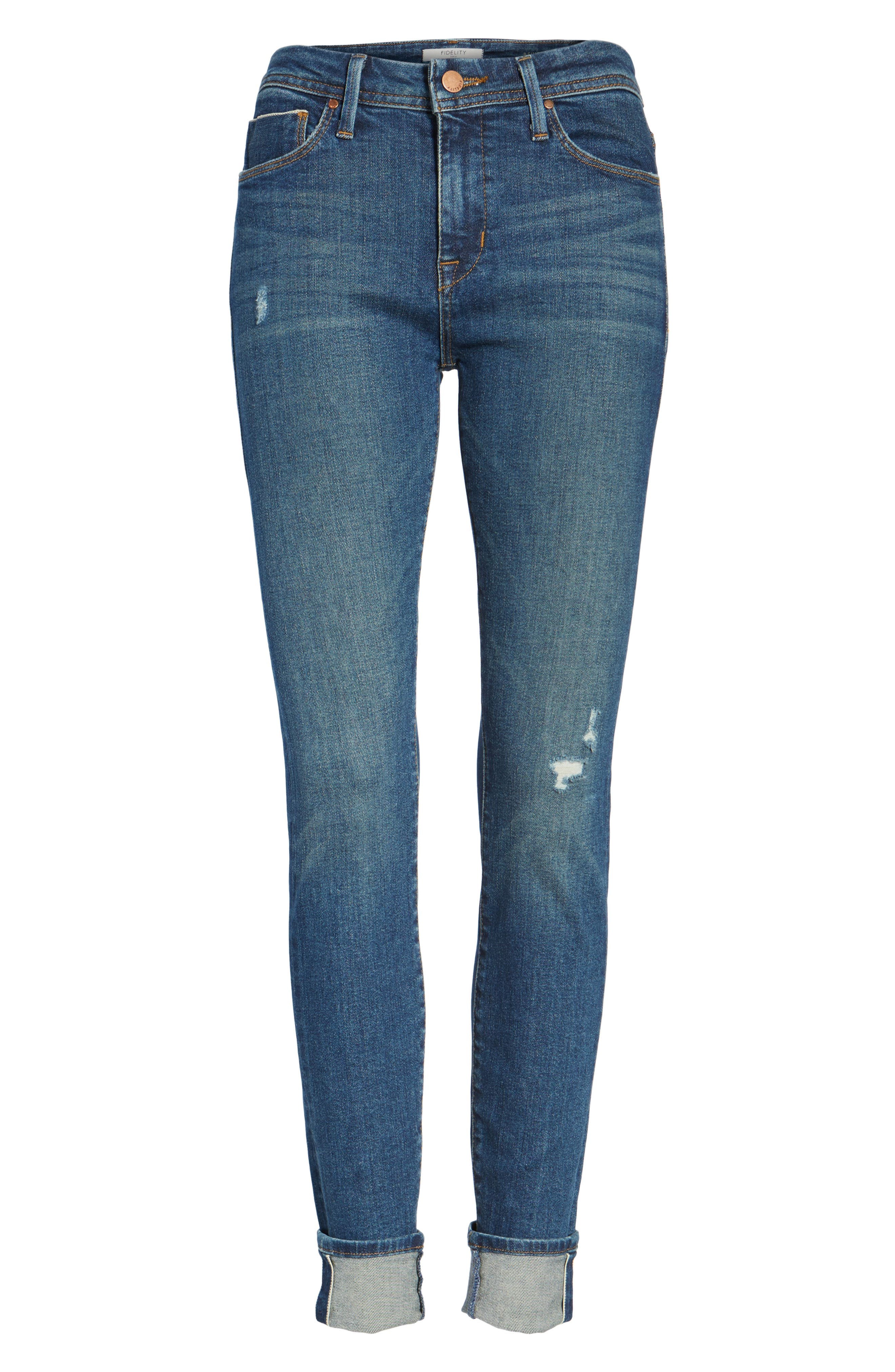Belvedere Crop Skinny Jeans,                             Alternate thumbnail 6, color,                             8 Year Aged