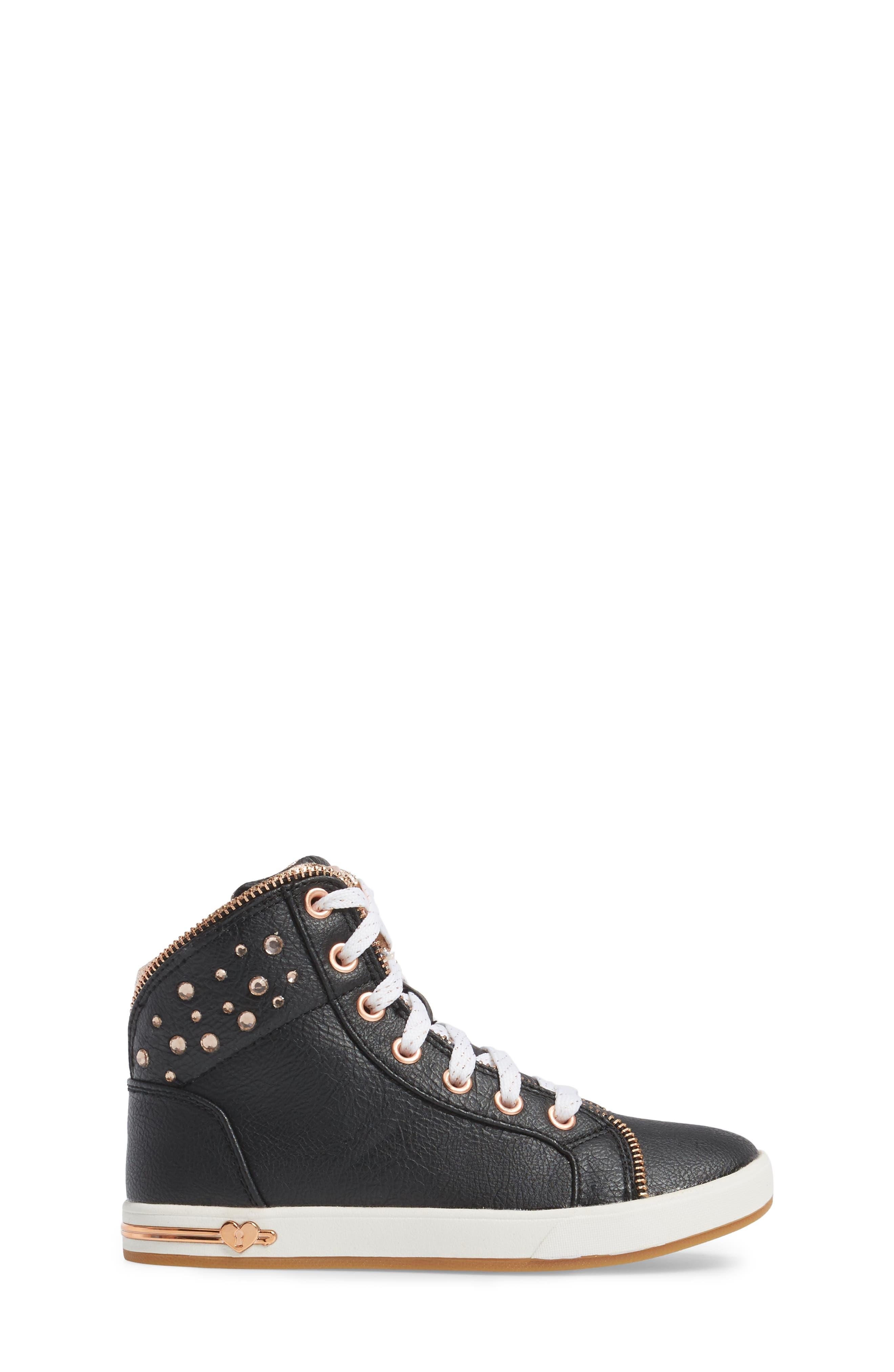 Shoutouts Embellished High Top Sneaker,                             Alternate thumbnail 3, color,                             Black/ Rose Gold