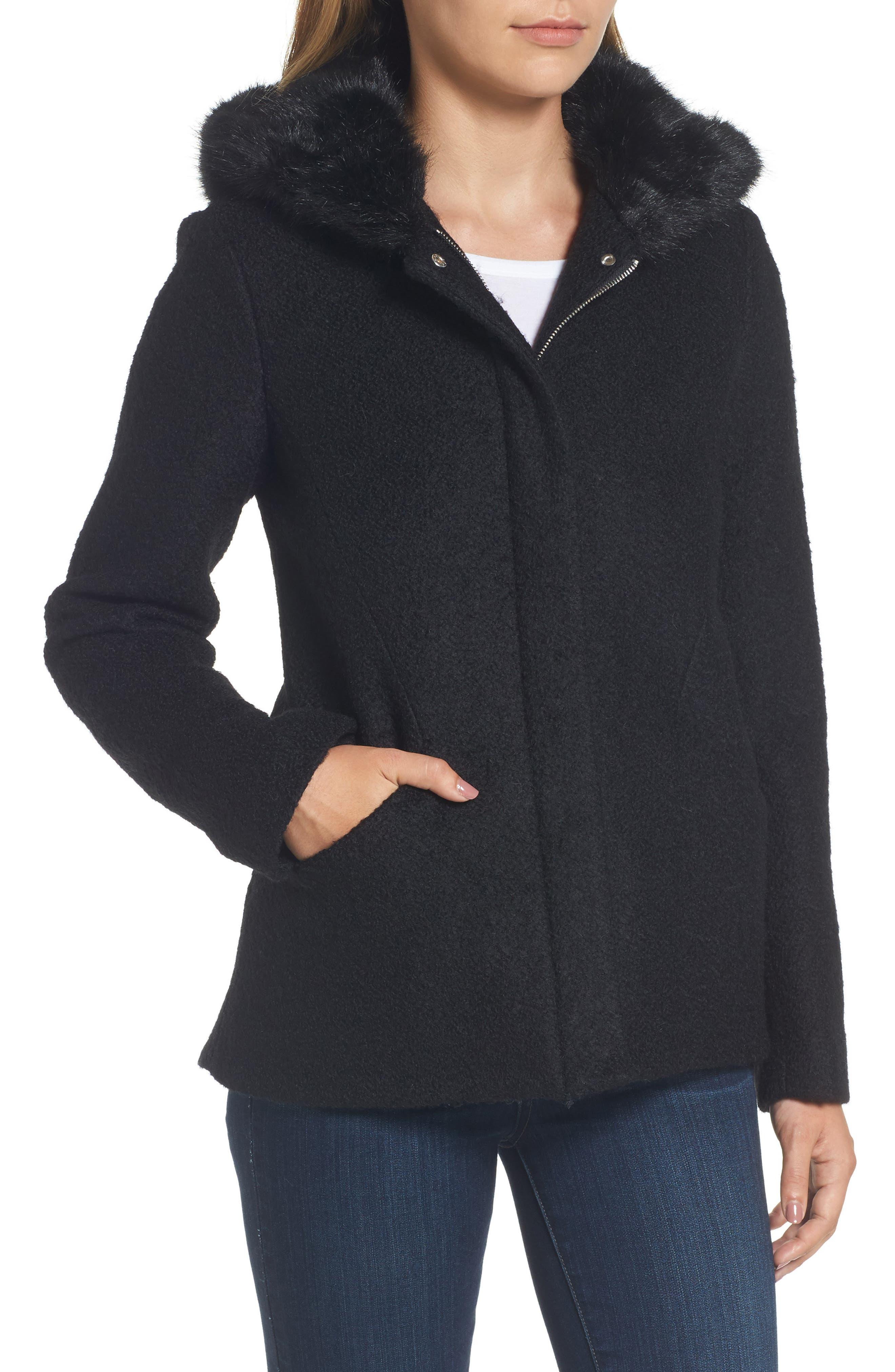 Hooded Wool Blend Bouclé Jacket with Faux Fur Trim,                             Alternate thumbnail 4, color,                             Black