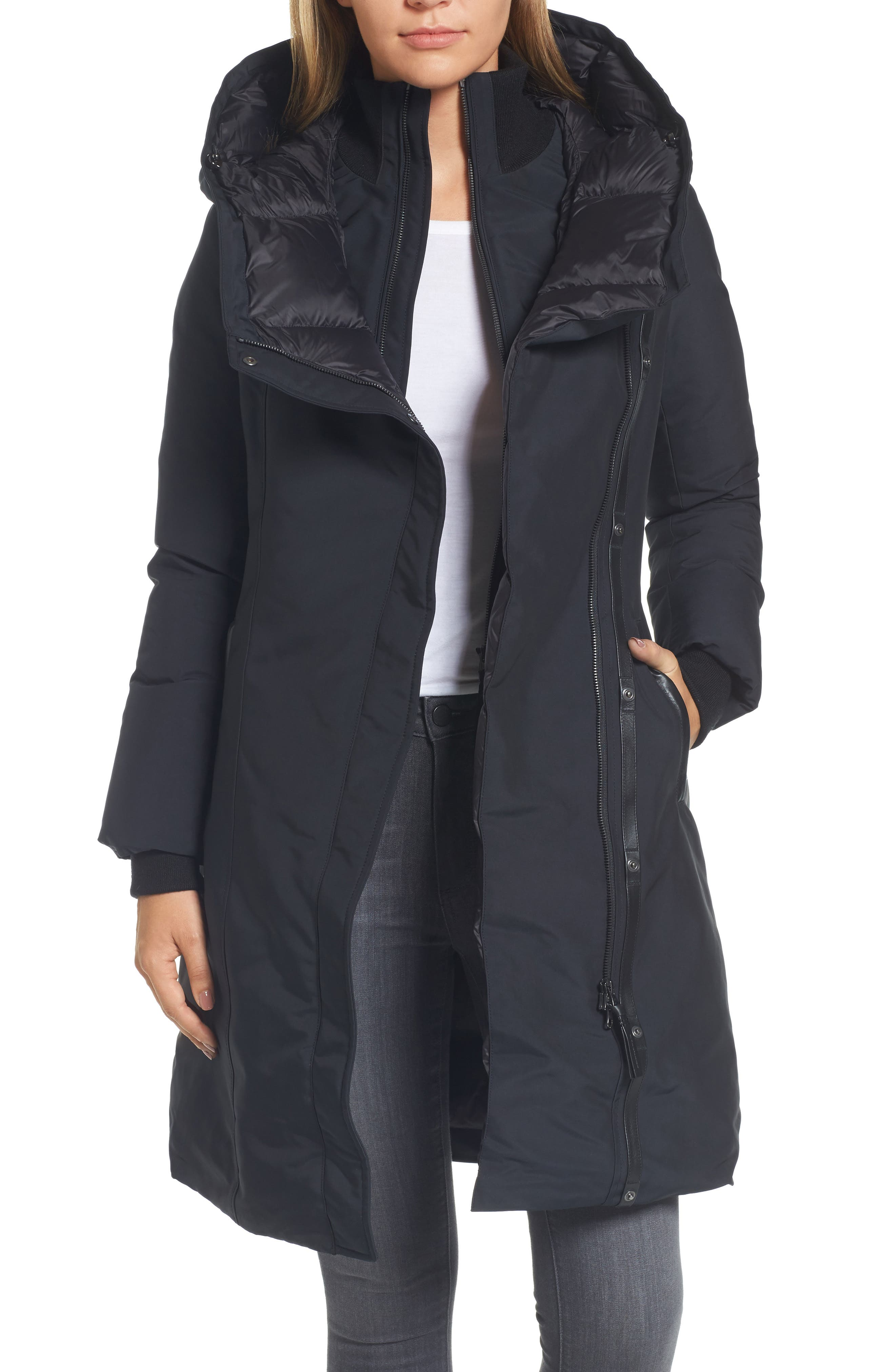 Hooded Asymmetrical Down Coat with Inset Bib,                             Main thumbnail 1, color,                             Black