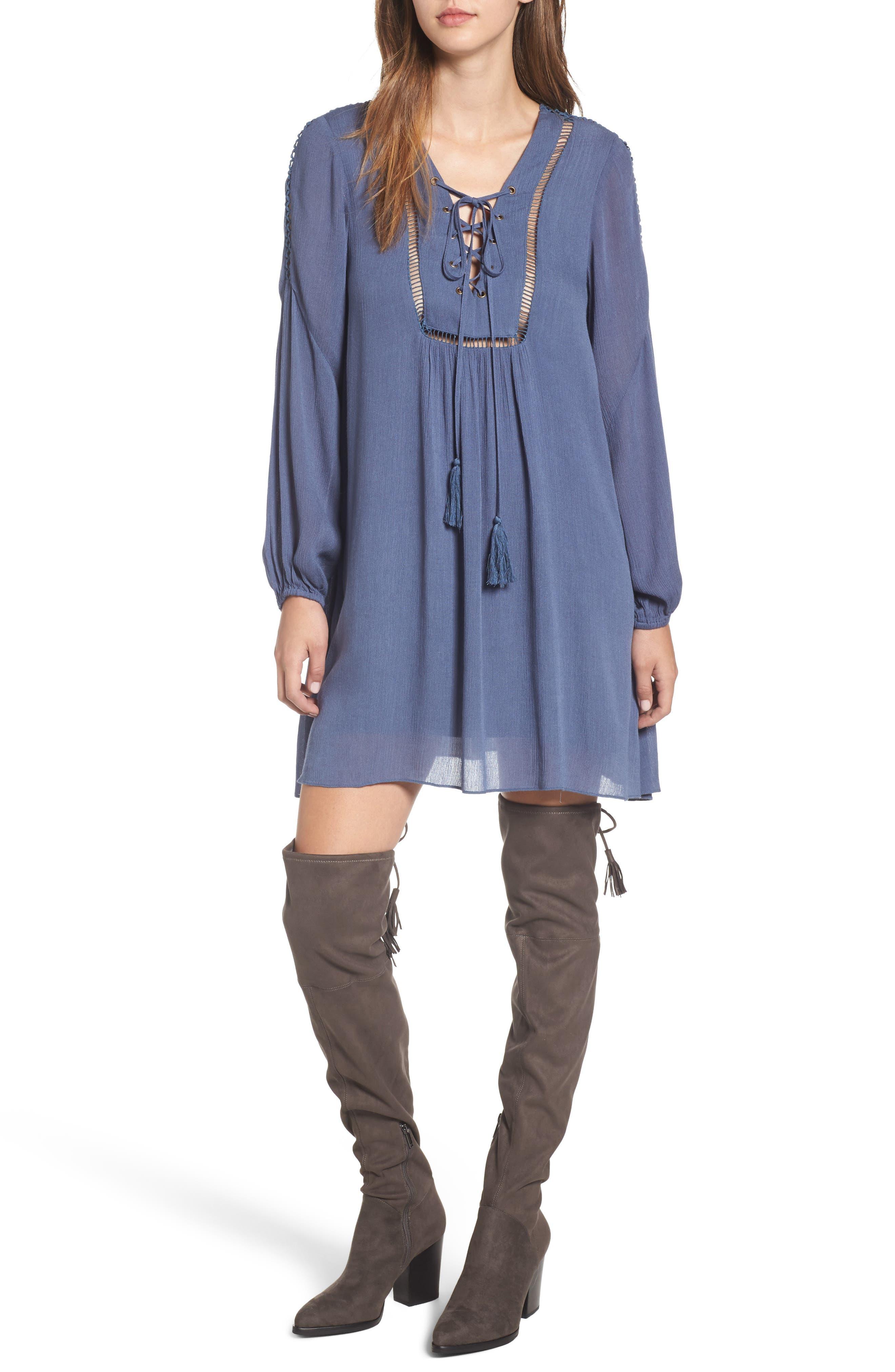 Julia Lace-Up Swing Dress,                         Main,                         color, Blue
