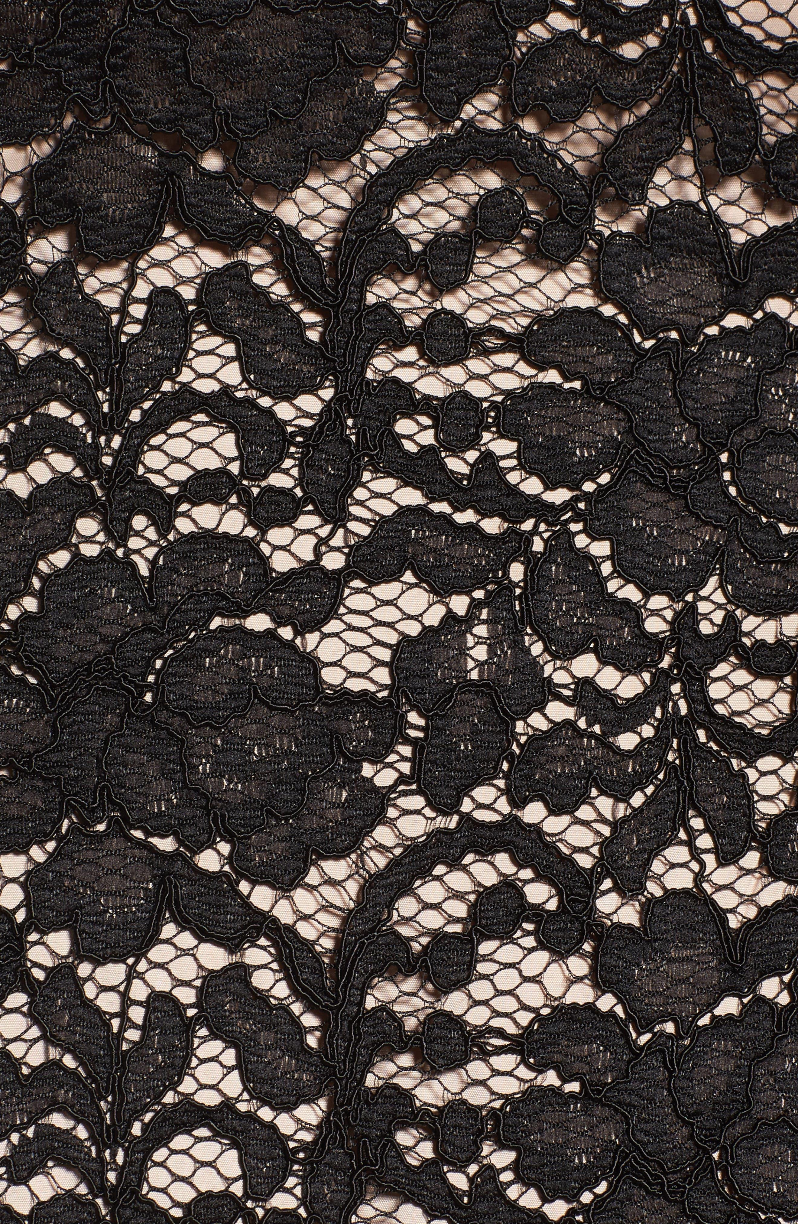 Juliet Lace Off the Shoulder Dress,                             Alternate thumbnail 5, color,                             Black/ Bisque