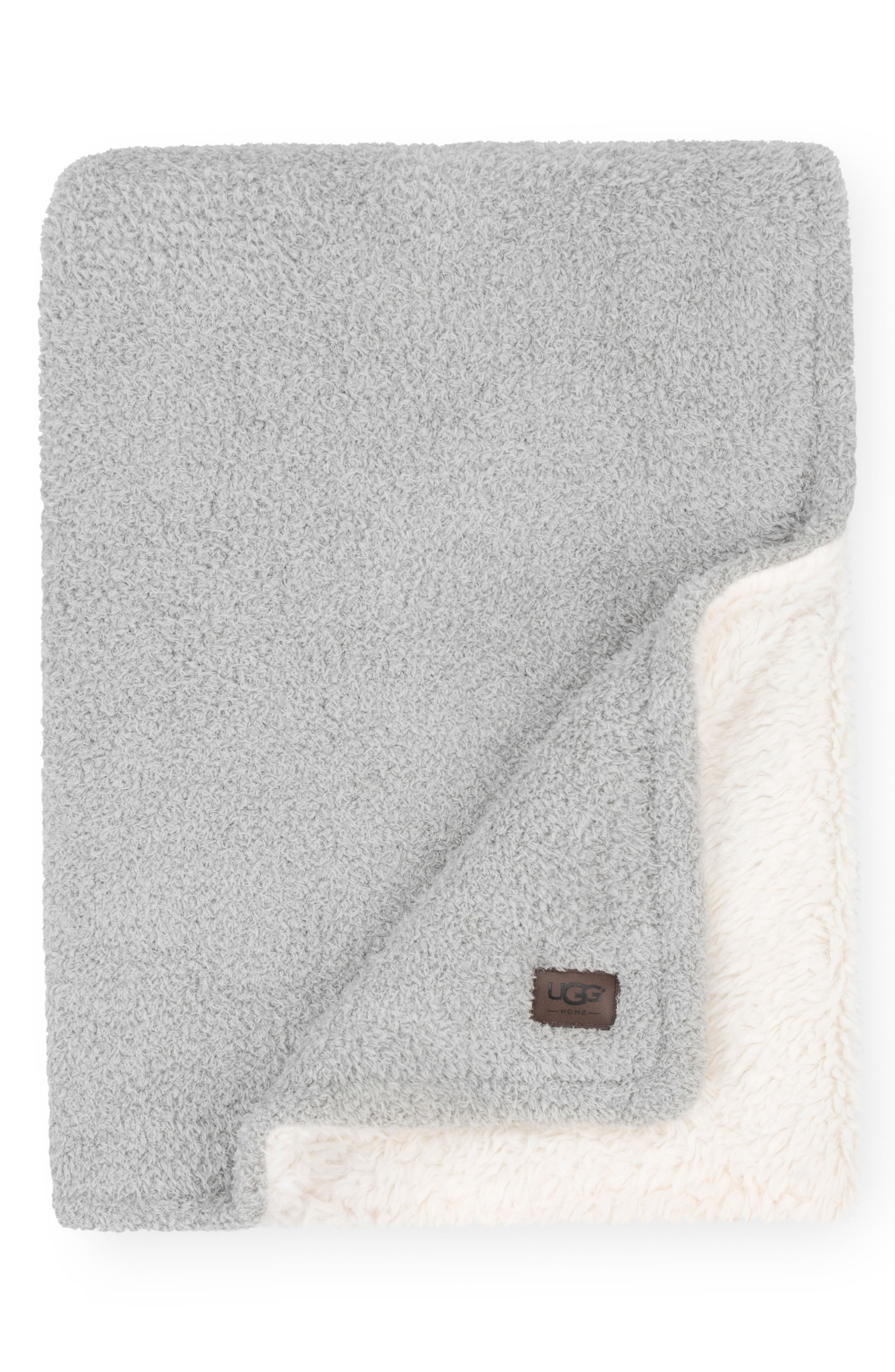 Ana Faux Shearling Throw,                         Main,                         color, Seal Grey