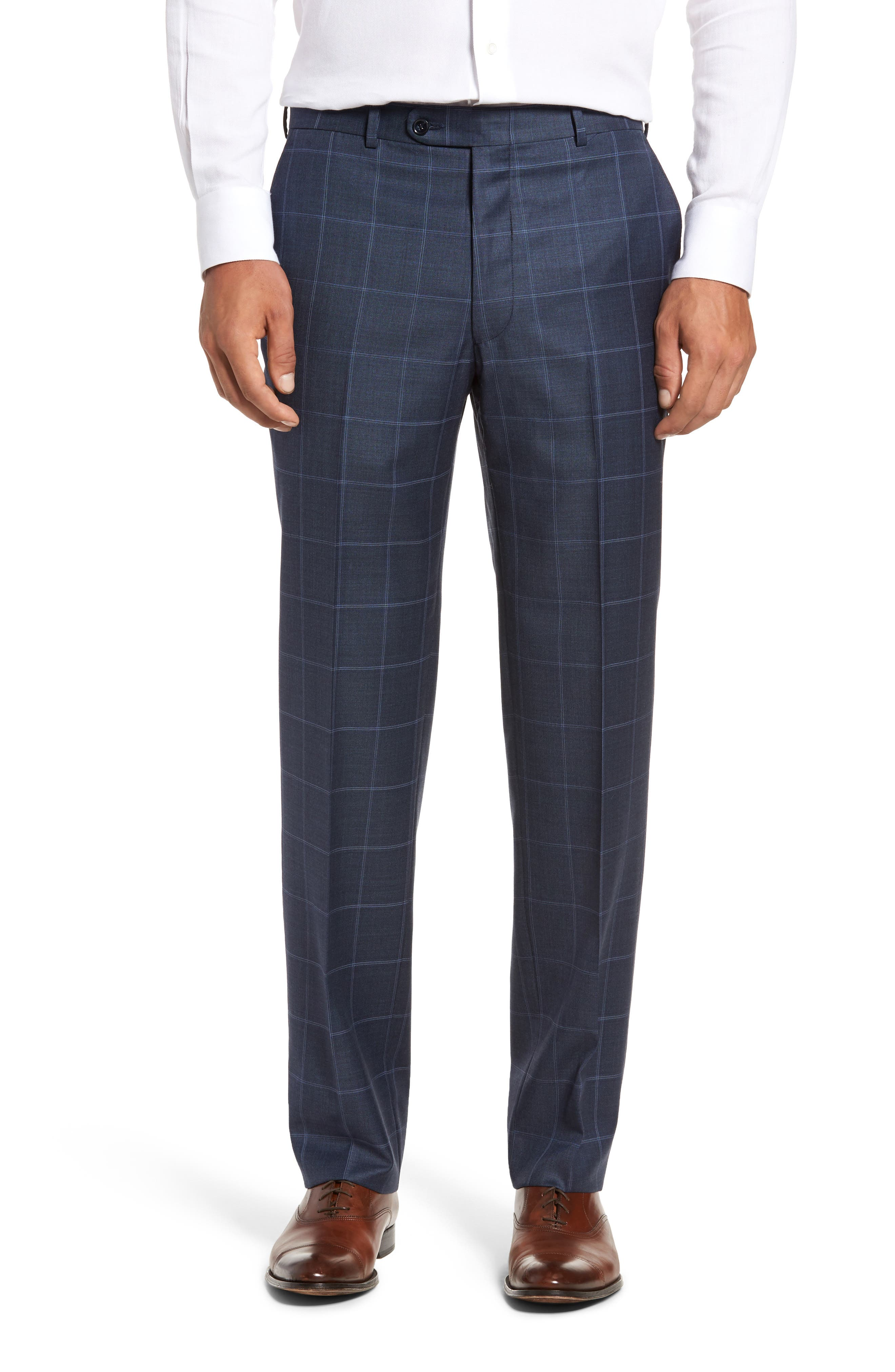 Flynn Classic Fit Windowpane Wool Suit,                             Alternate thumbnail 6, color,                             Blue