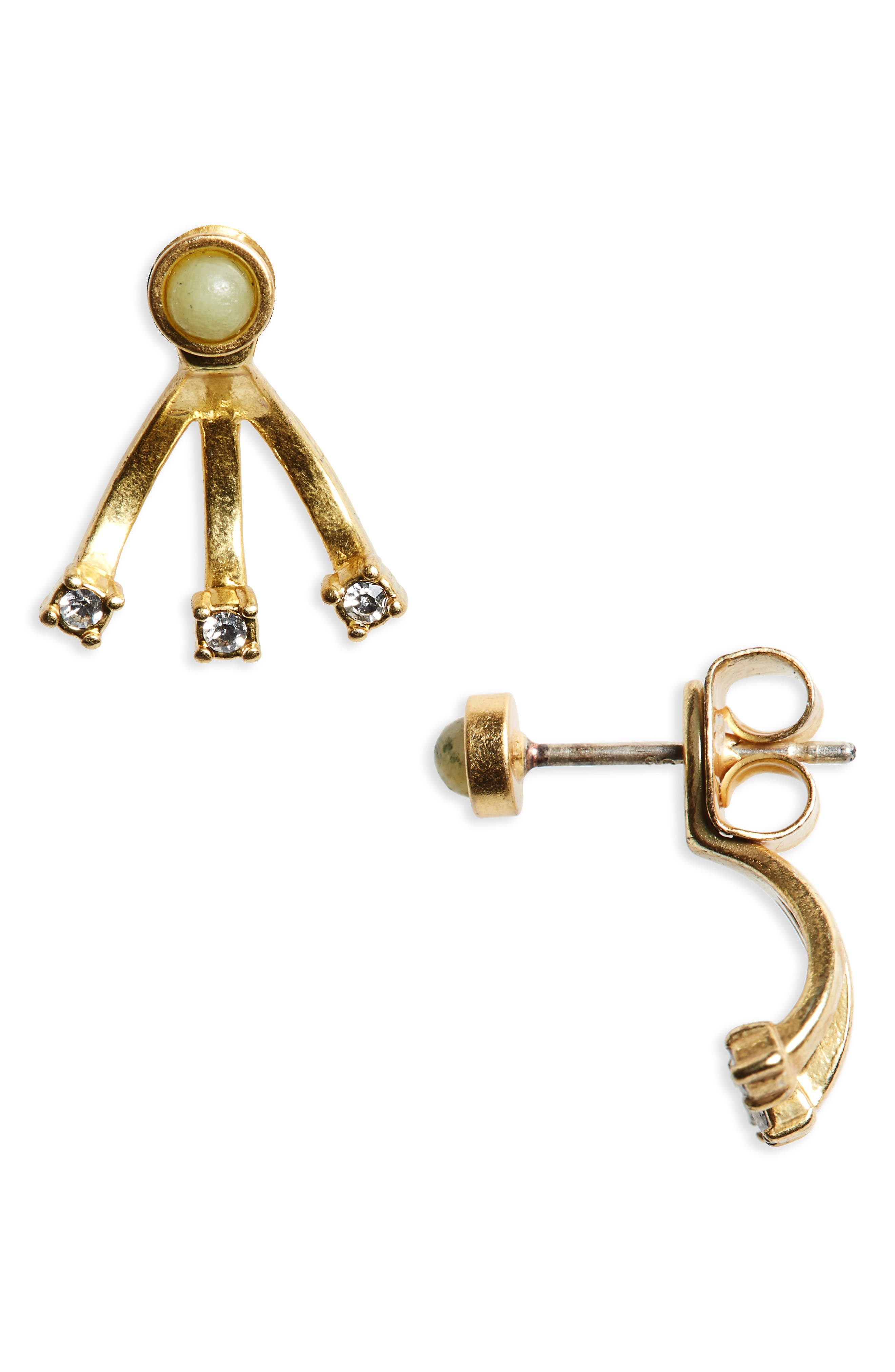 Madewell Tiny Jewels Front/Back Jade Earrings