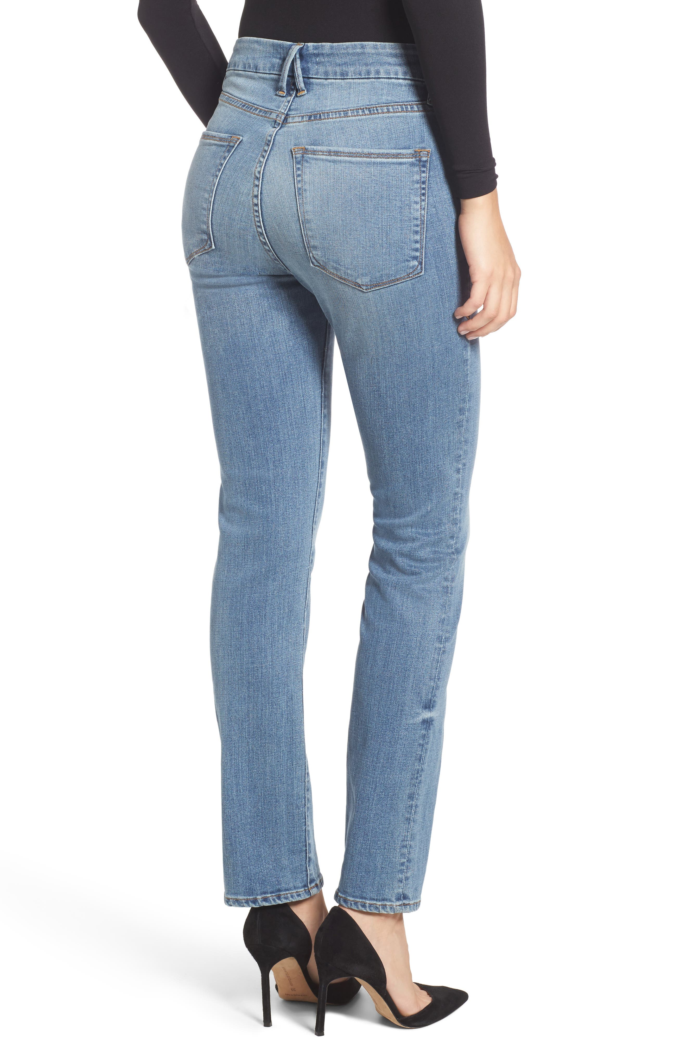 Alternate Image 3  - Good American Good Straight High Rise Jeans (Blue 087) (Regular & Plus Size)