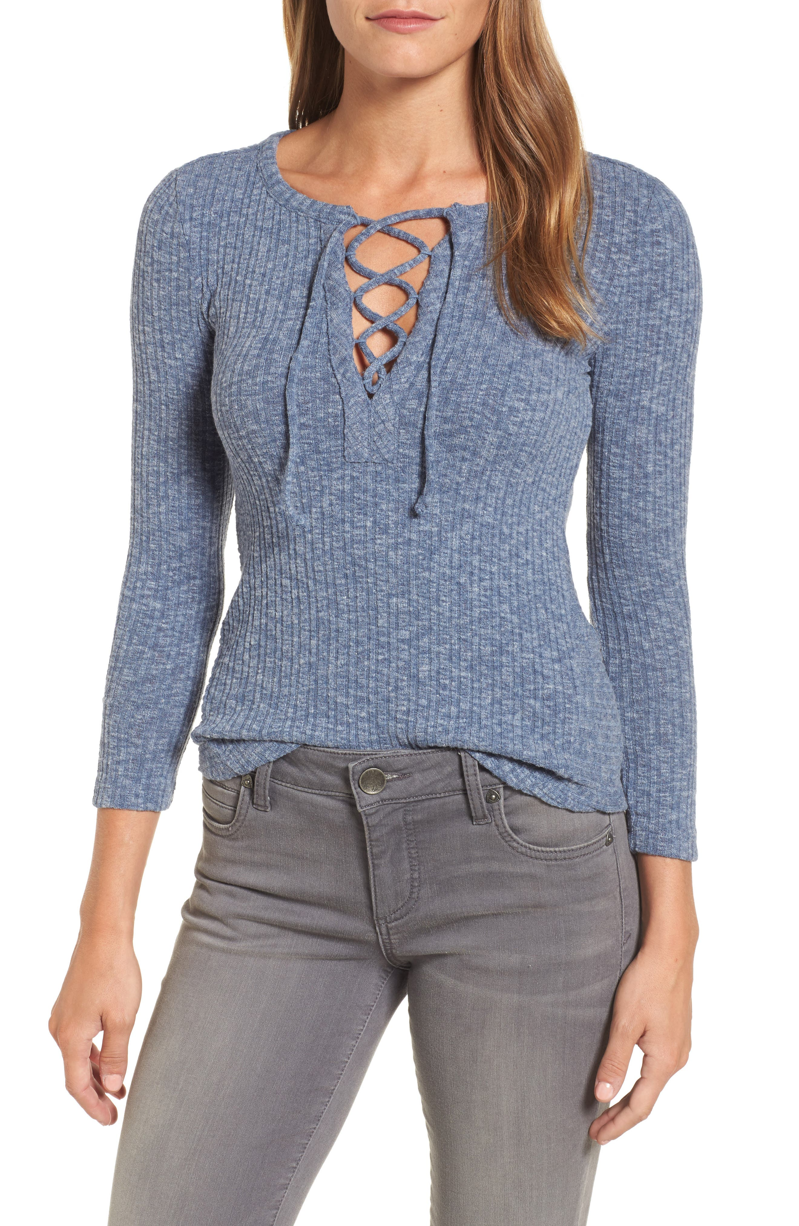 Lucky Brand Lace Up Ribbed Top