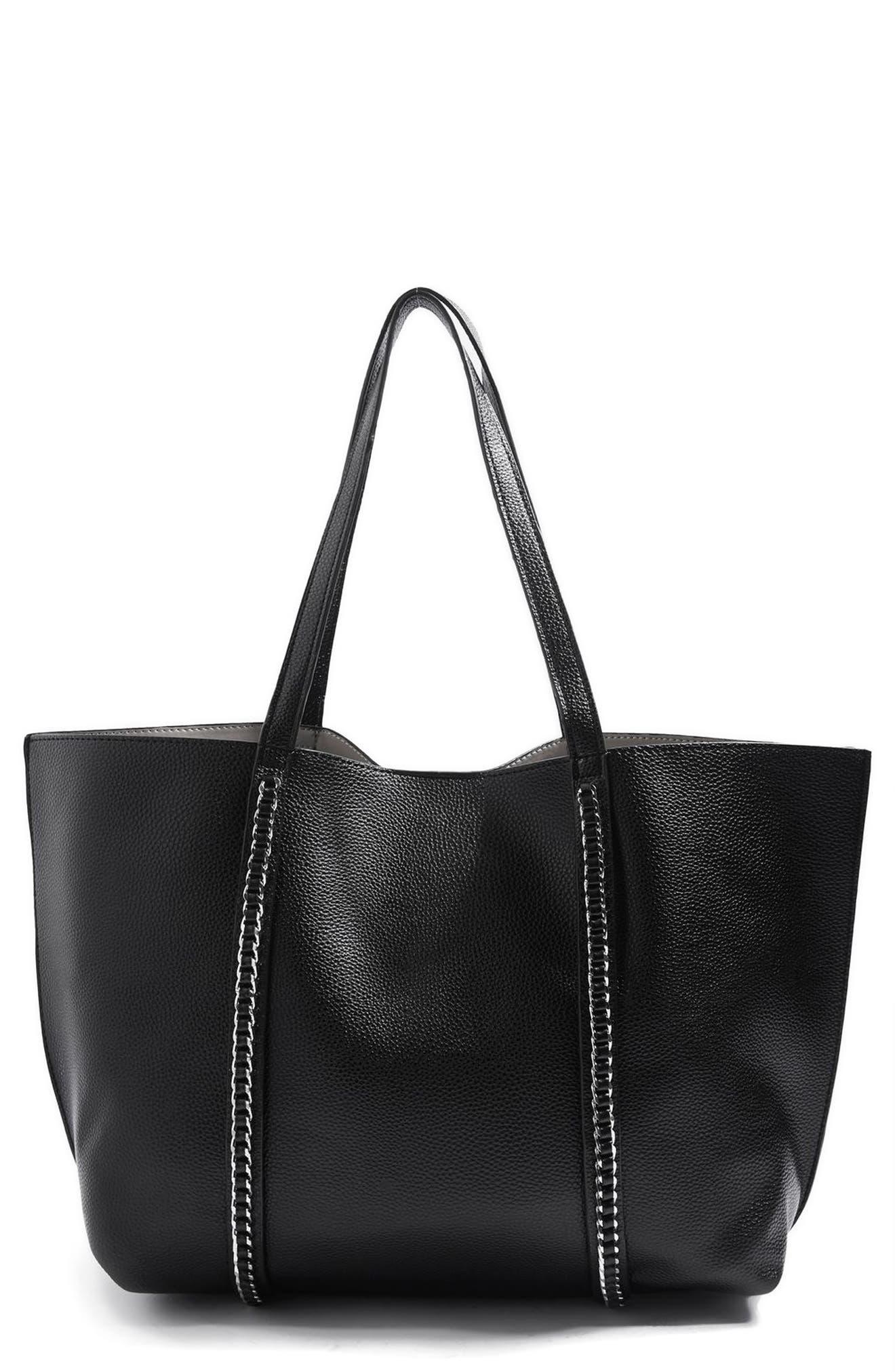 Sabrina Chain Trim Faux Leather Shopper,                         Main,                         color, Black