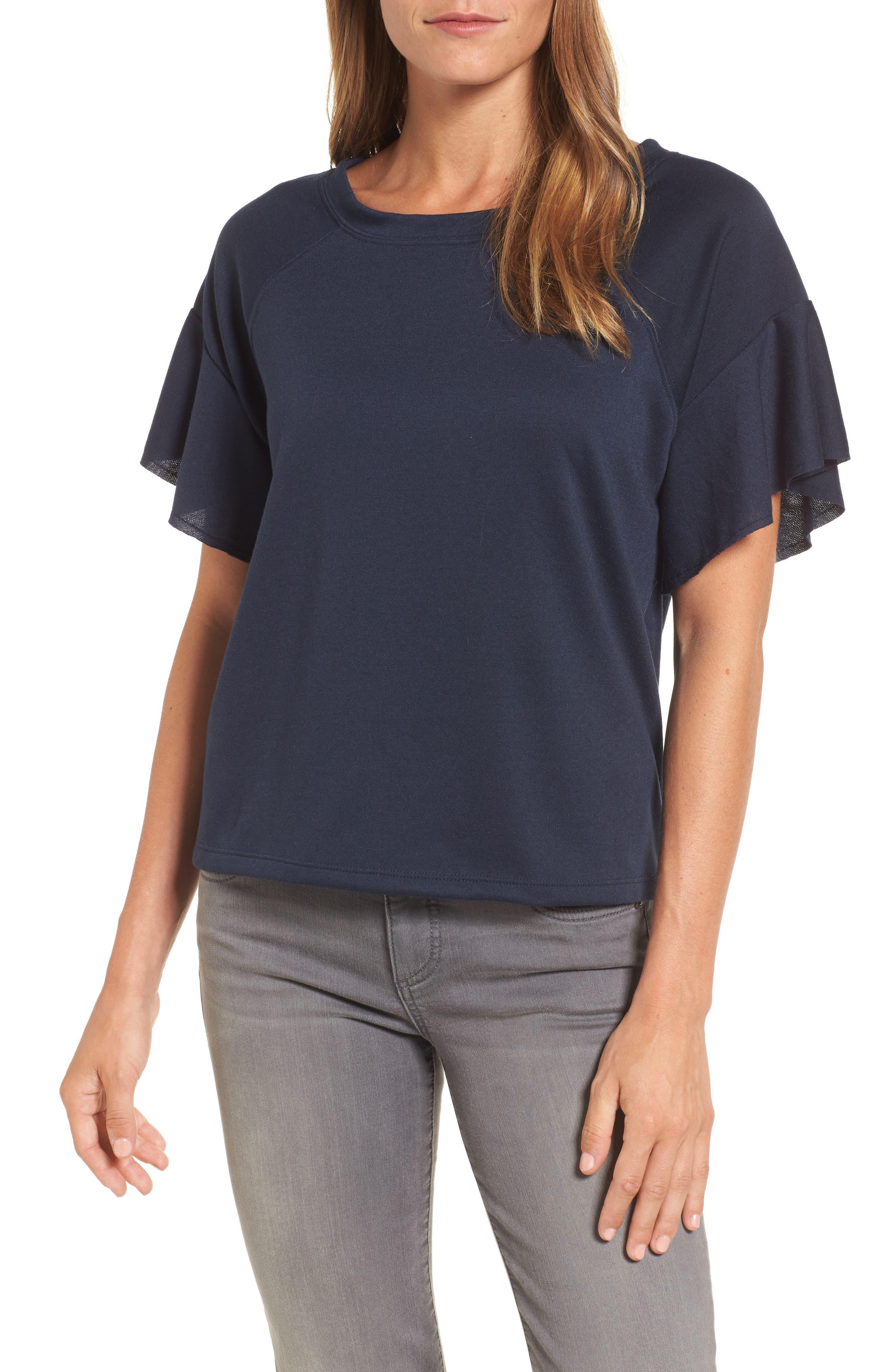 Ruffle Sleeve Sweatshirt,                         Main,                         color, Navy