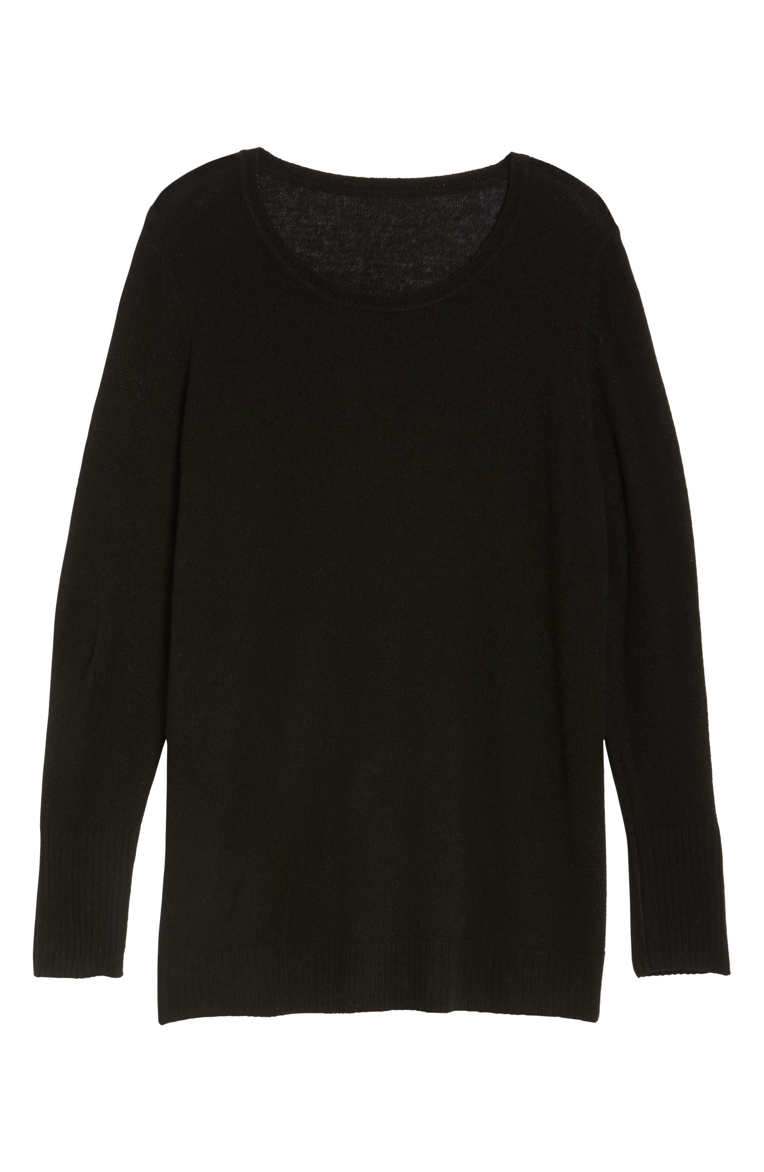 Crewneck Side Split Wool & Cashmere Pullover,                             Alternate thumbnail 6, color,                             Black
