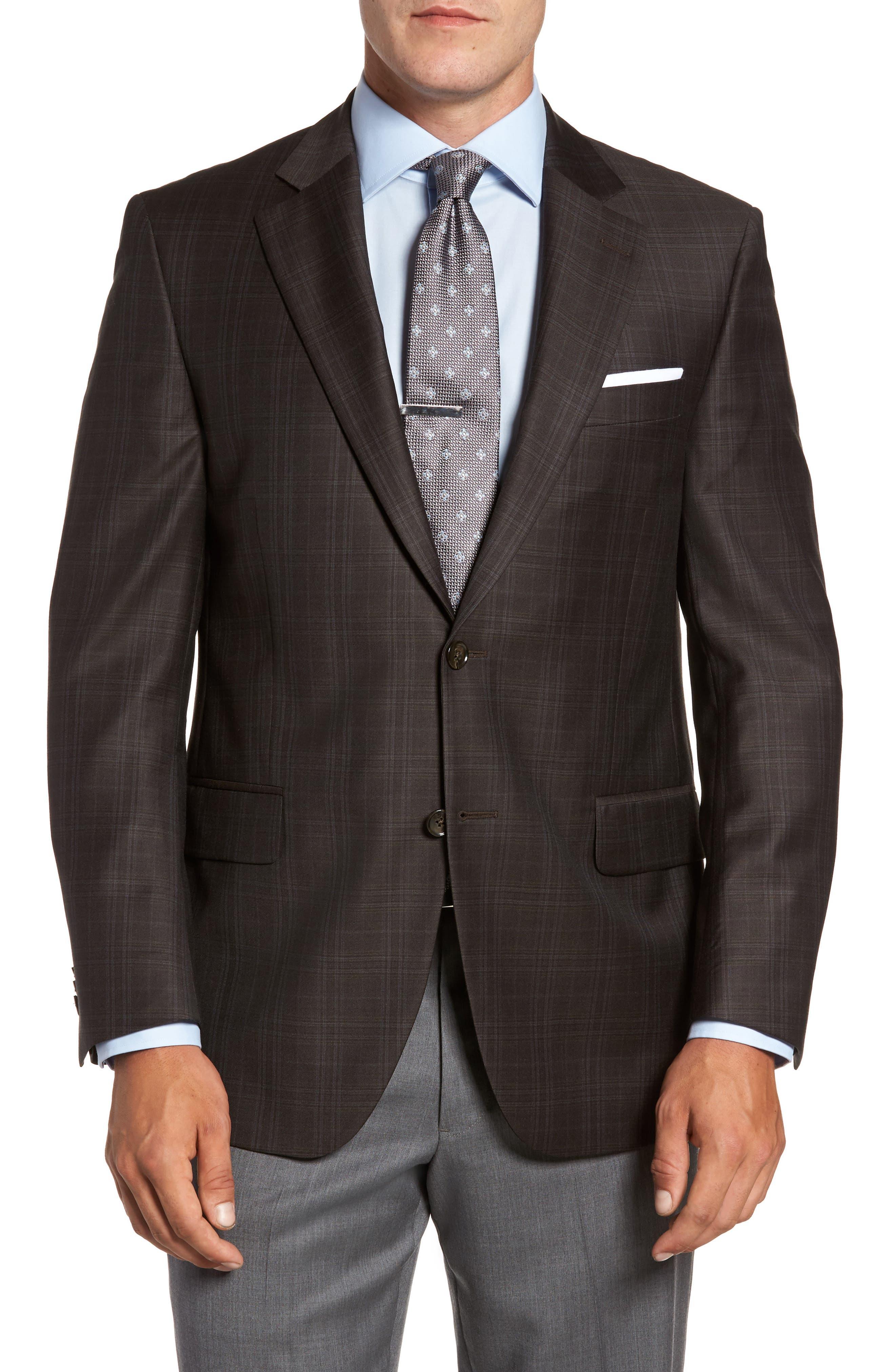 Flynn Classic Fit Plaid Wool Sport Coat,                             Main thumbnail 1, color,                             Brown