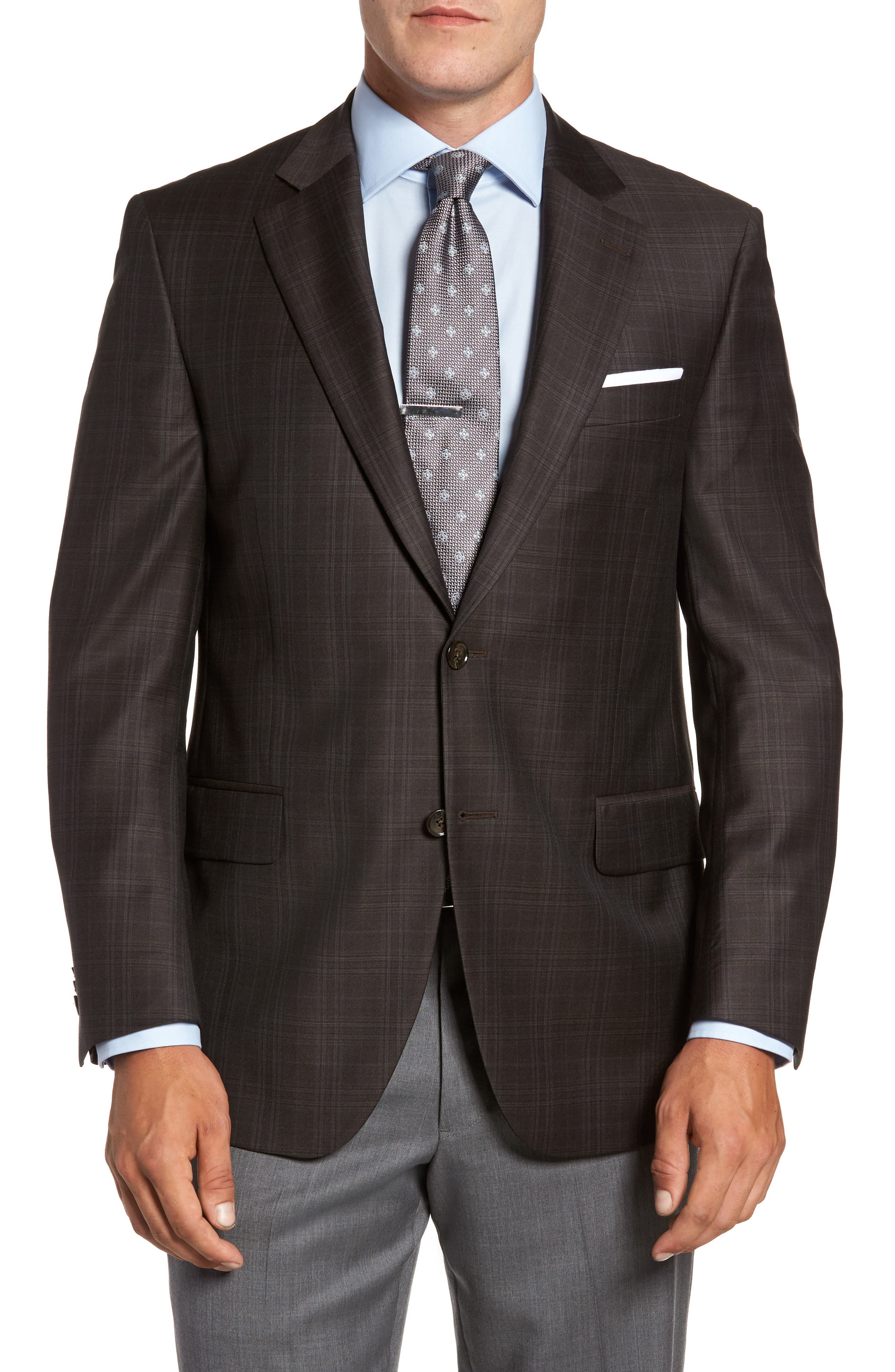 Flynn Classic Fit Plaid Wool Sport Coat,                         Main,                         color, Brown