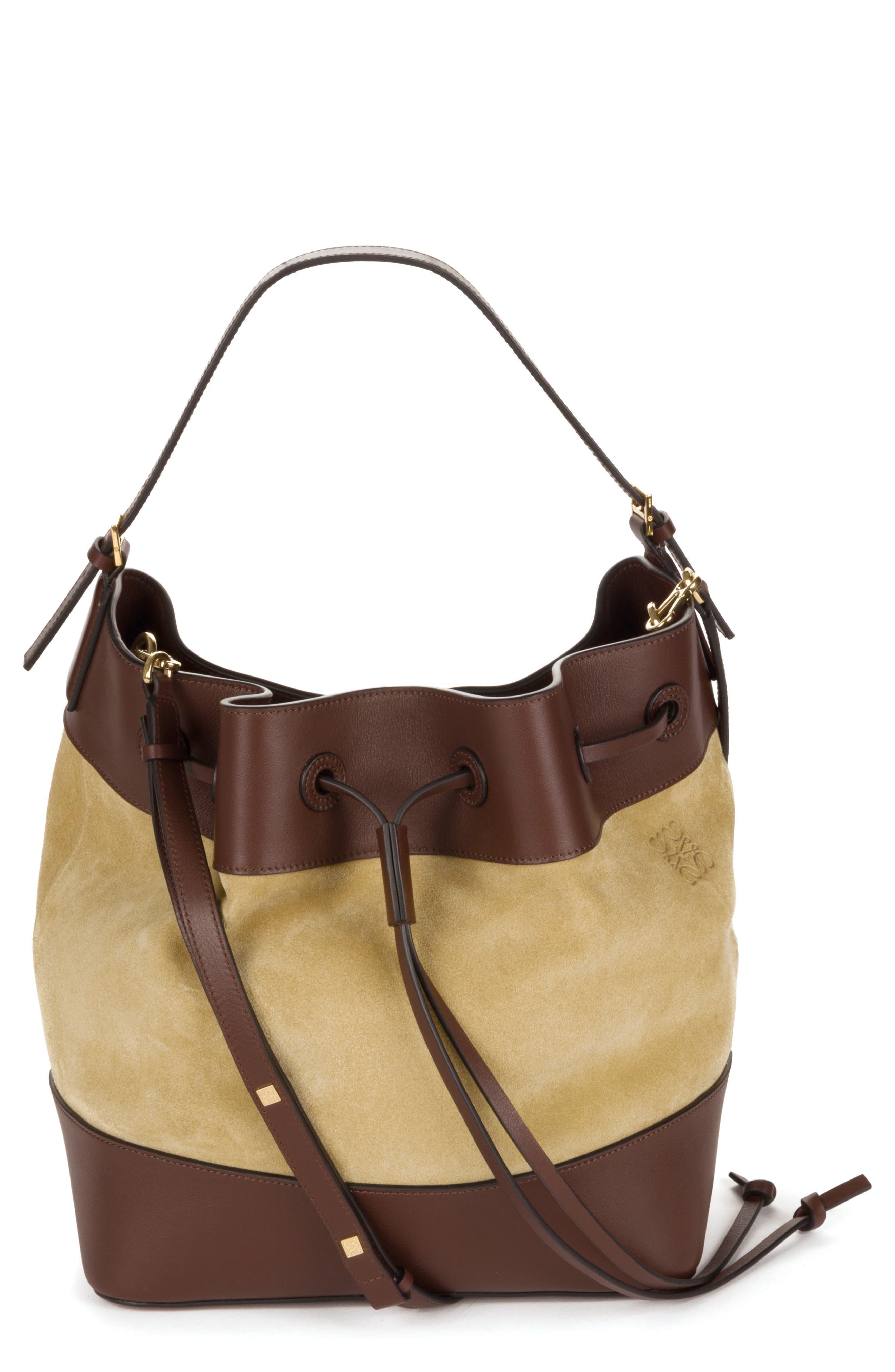 LOEWE Midnight Leather & Suede Bucket Bag