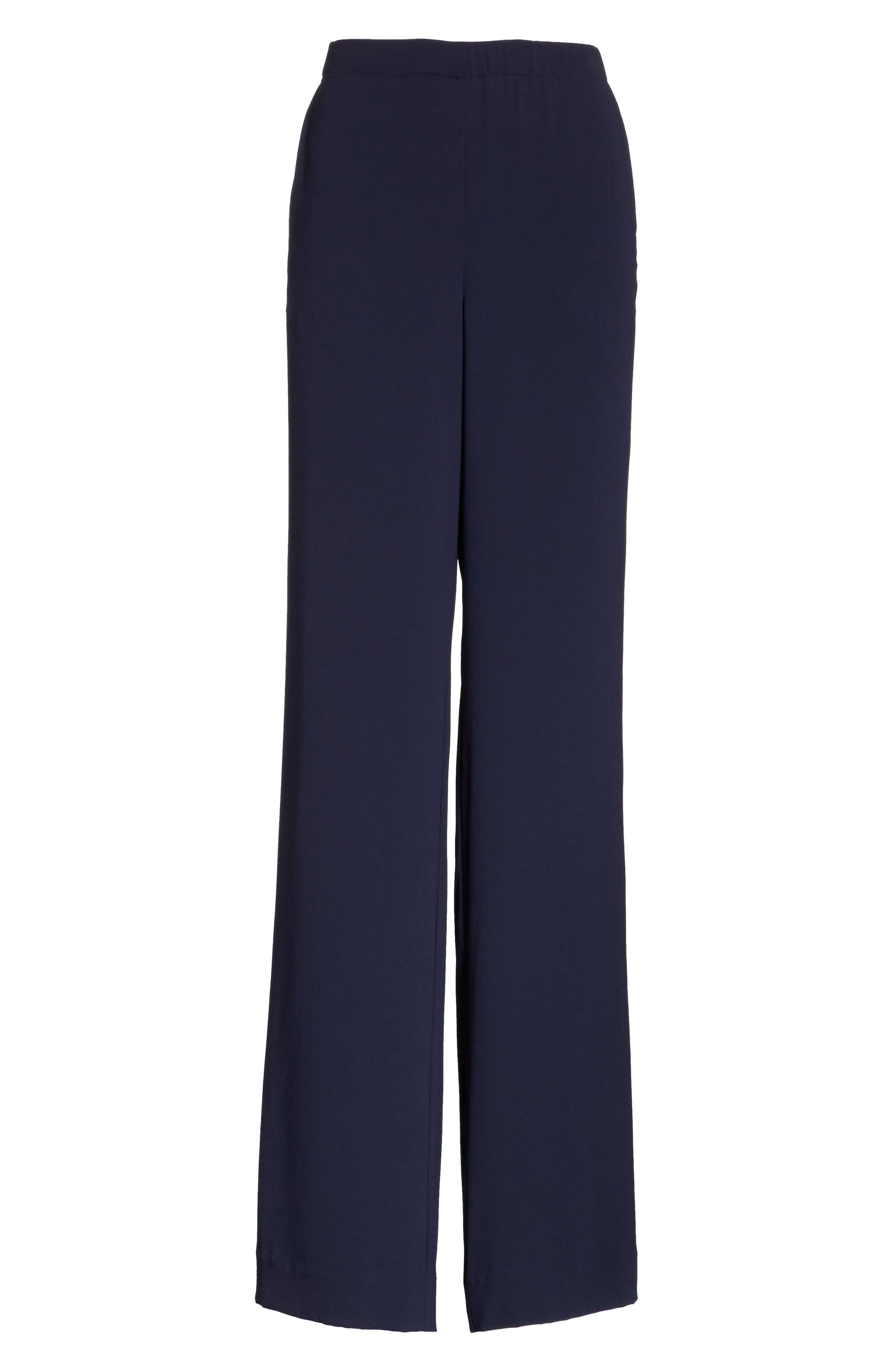 Satin Back Crepe Pants,                             Alternate thumbnail 6, color,                             Navy