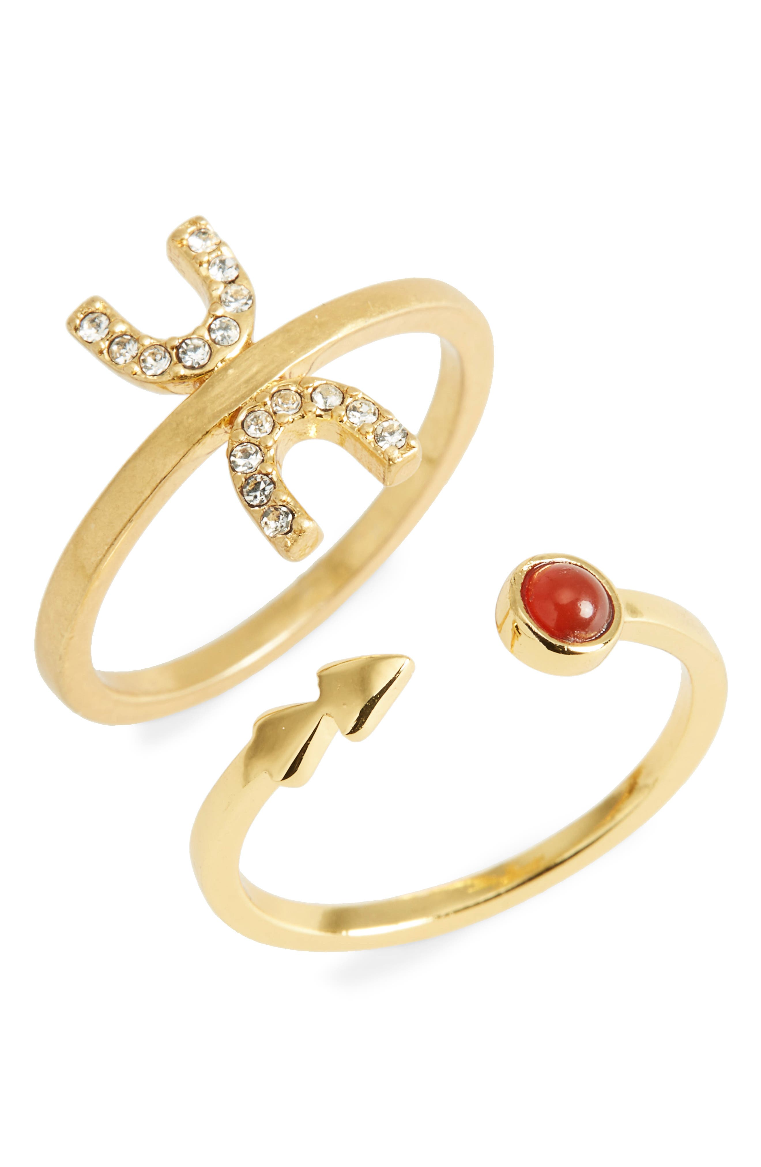 Tiny Jewels Set of 2 Stacking Rings,                         Main,                         color, Vintage Gold
