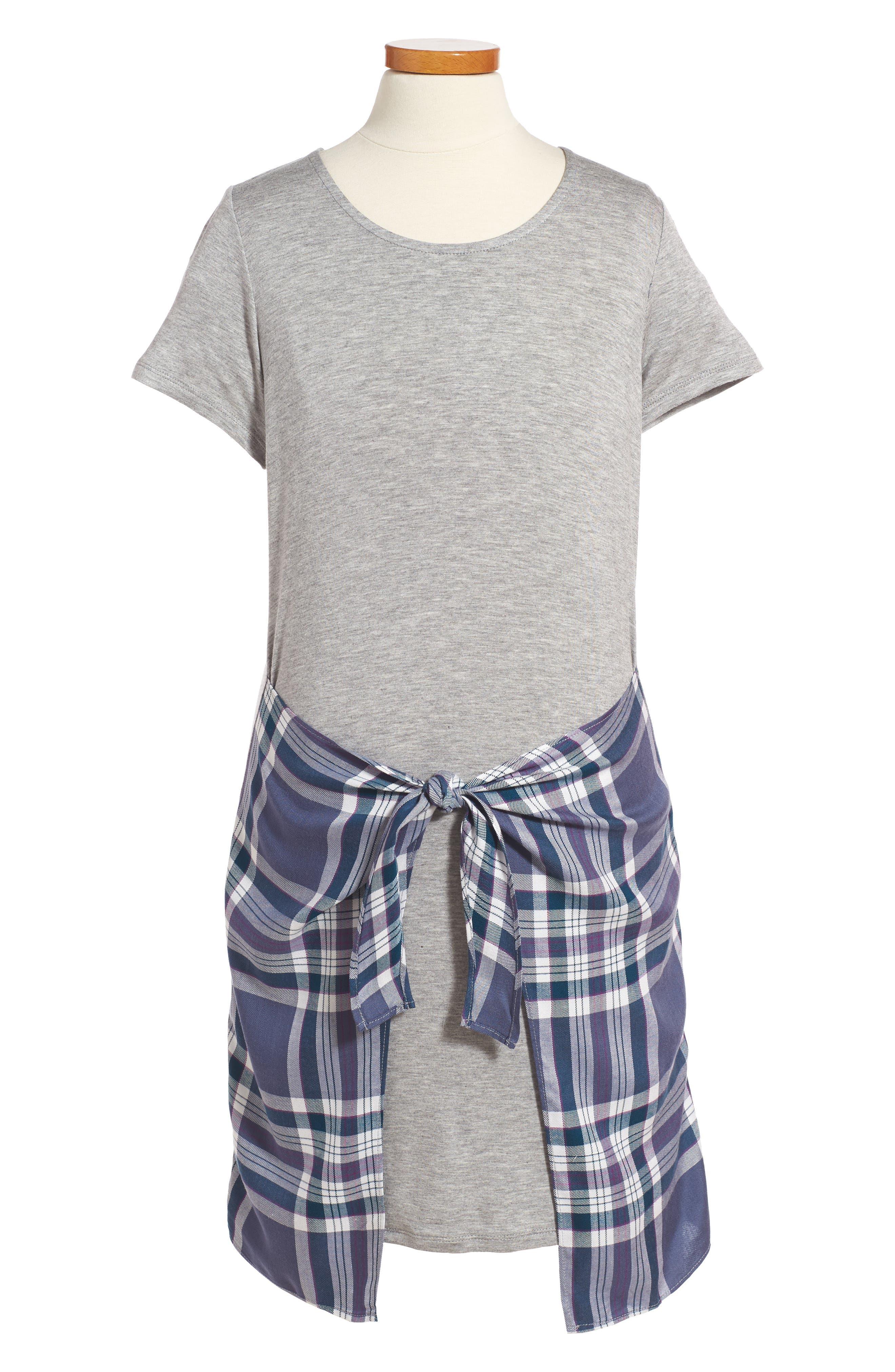 Alternate Image 1 Selected - Love, Fire Faux Wrap T-Shirt Dress (Big Girls)