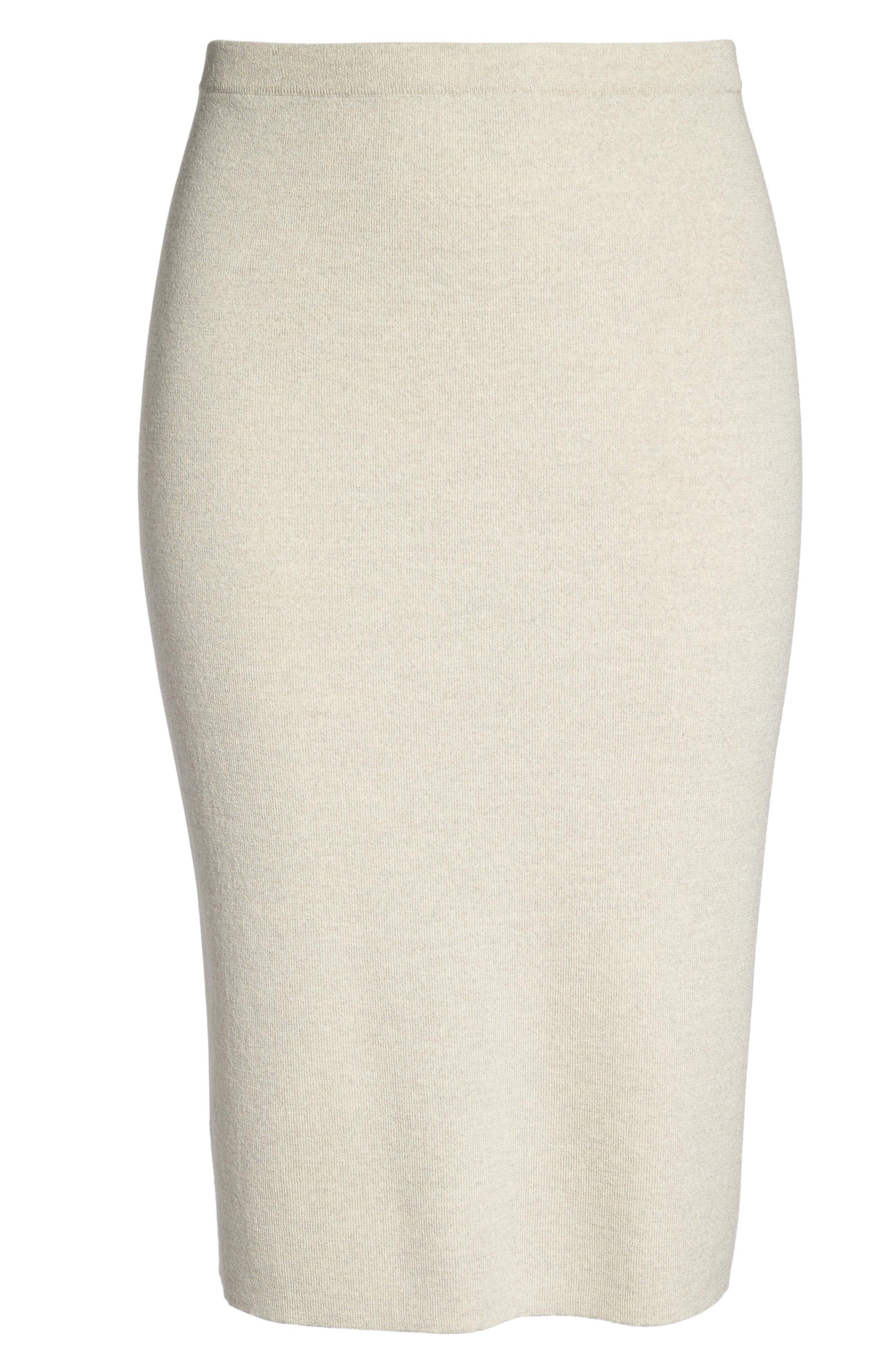 Wool Knit Pencil Skirt,                             Alternate thumbnail 6, color,                             Sea Salt