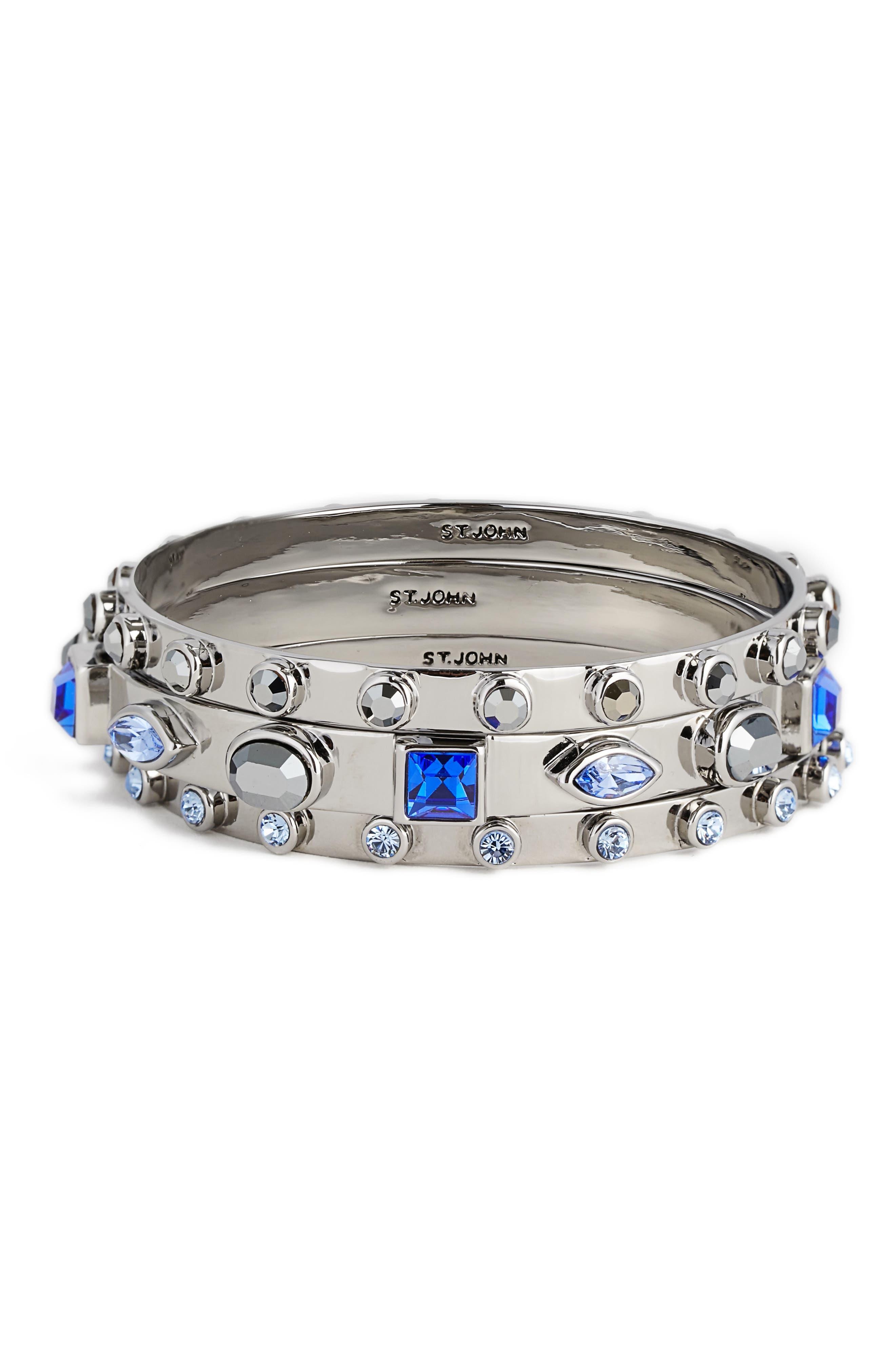 Swarovski Crystal Bangles,                             Main thumbnail 1, color,                             Ruthenium Light Sapphire