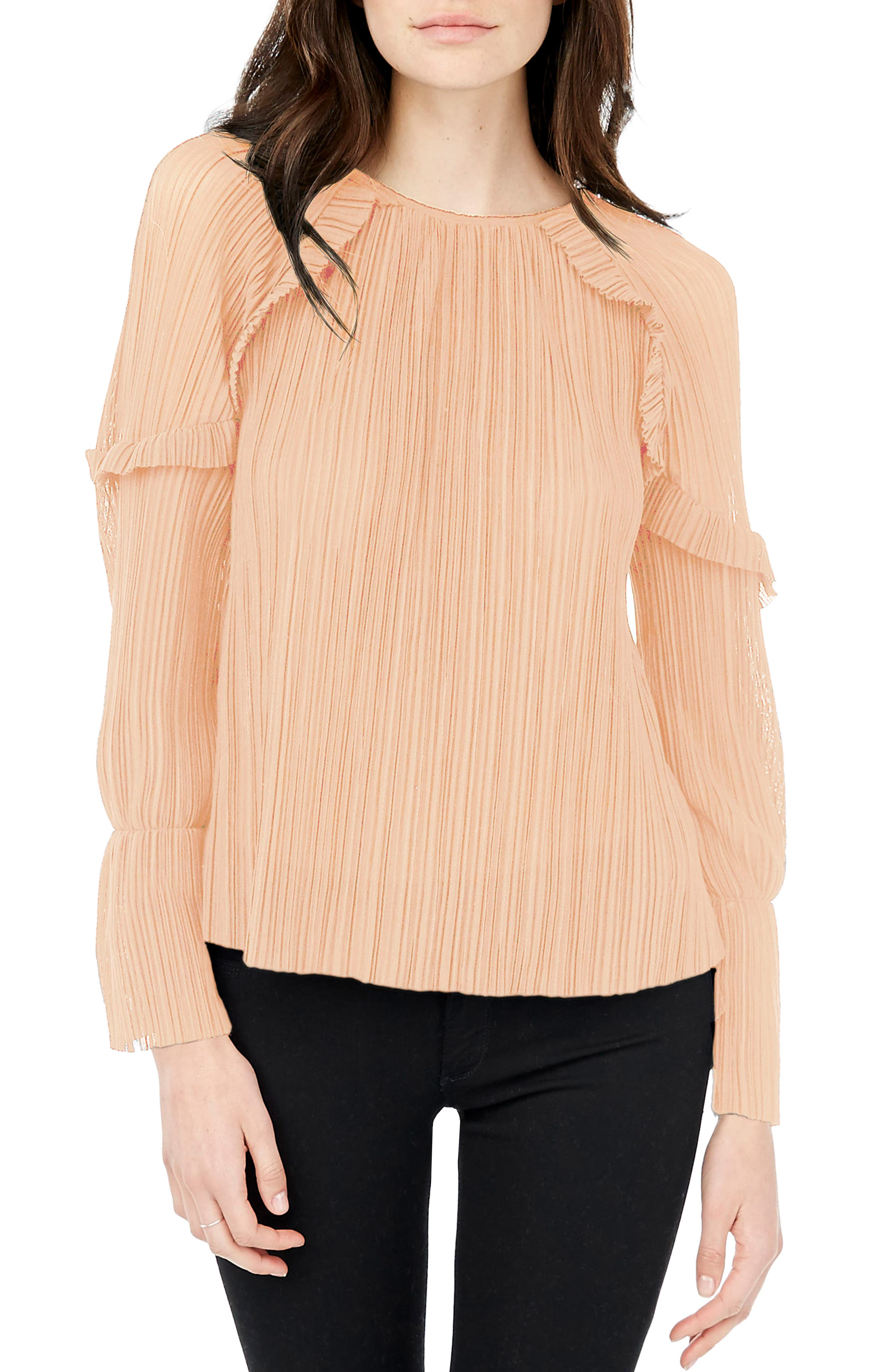 Bell Sleeve Top,                         Main,                         color, Blush