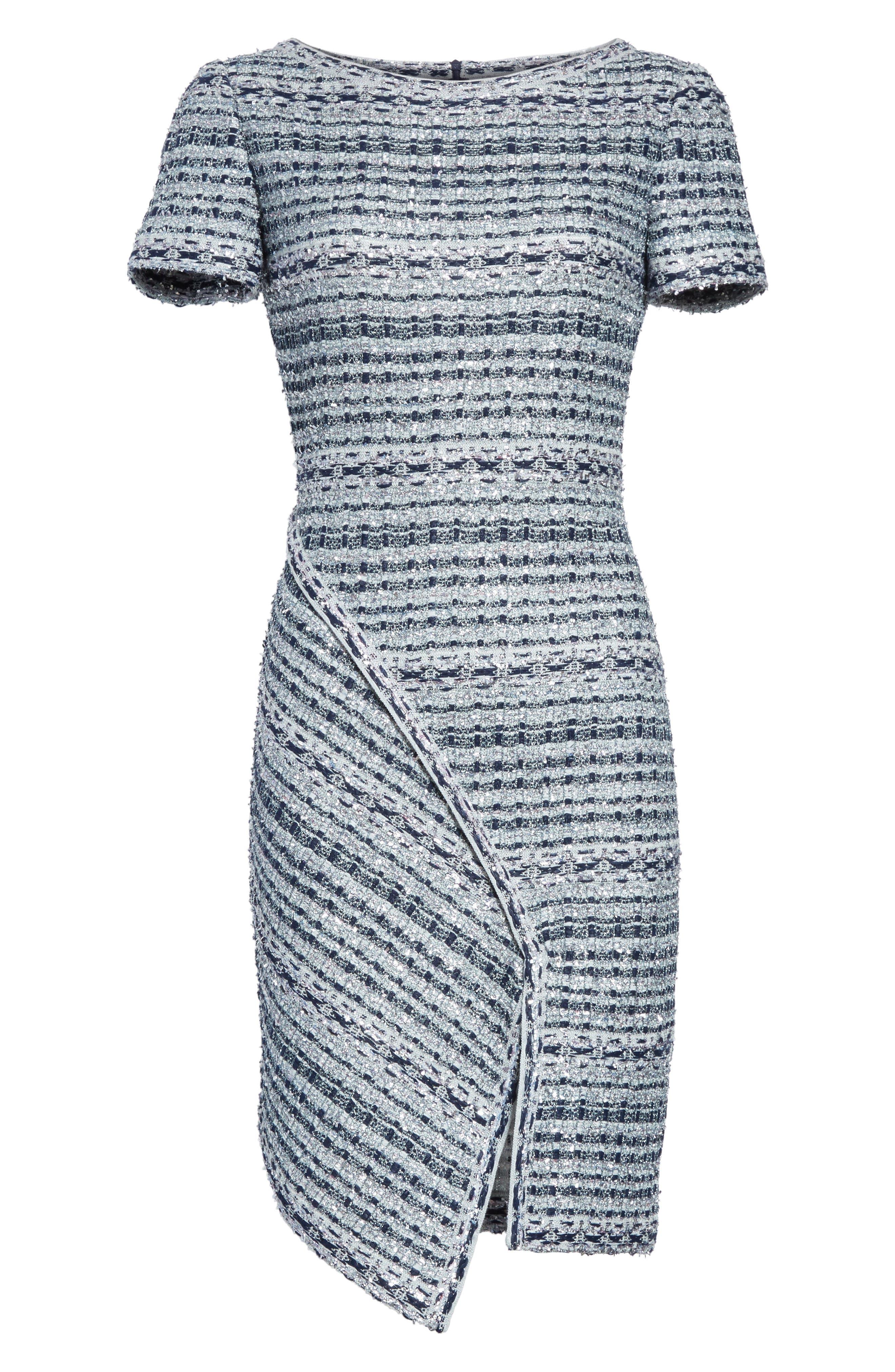 Metallic Jacquard Dress,                             Alternate thumbnail 8, color,                             Gunmetal Multi