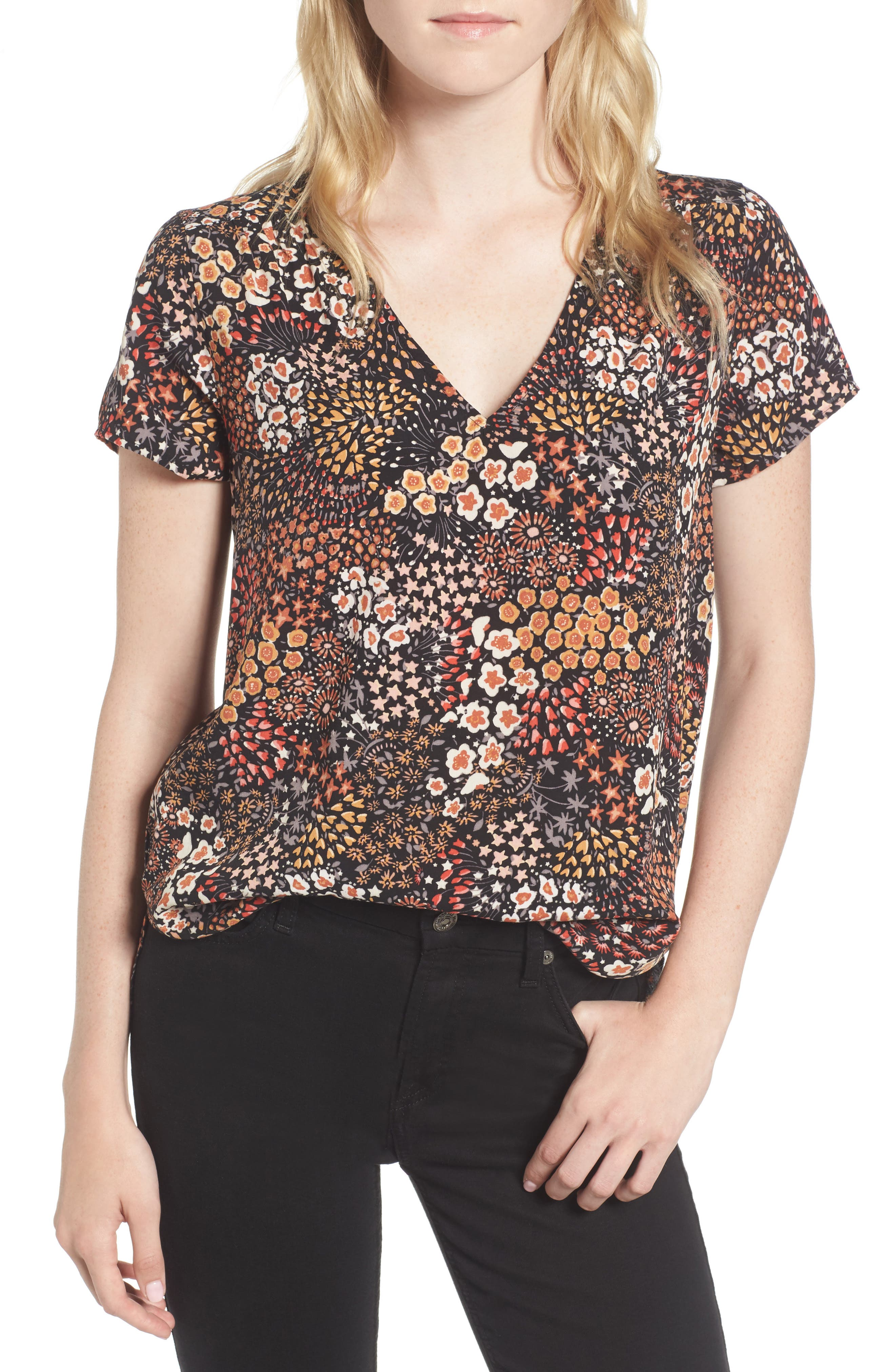 Hinge Floral V-Neck Top