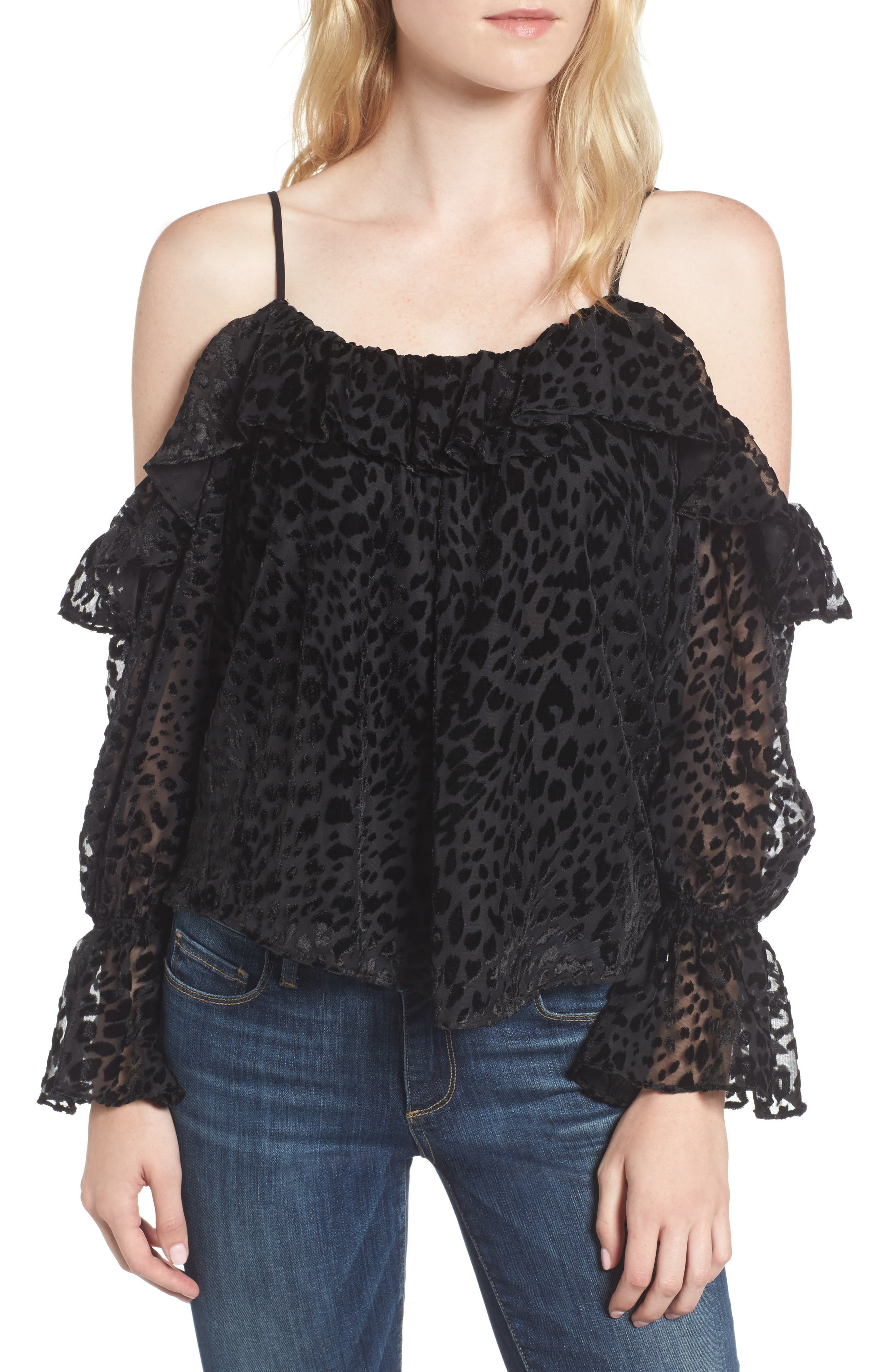 Parker Renzo Cold Shoulder Burnout Velvet Blouse