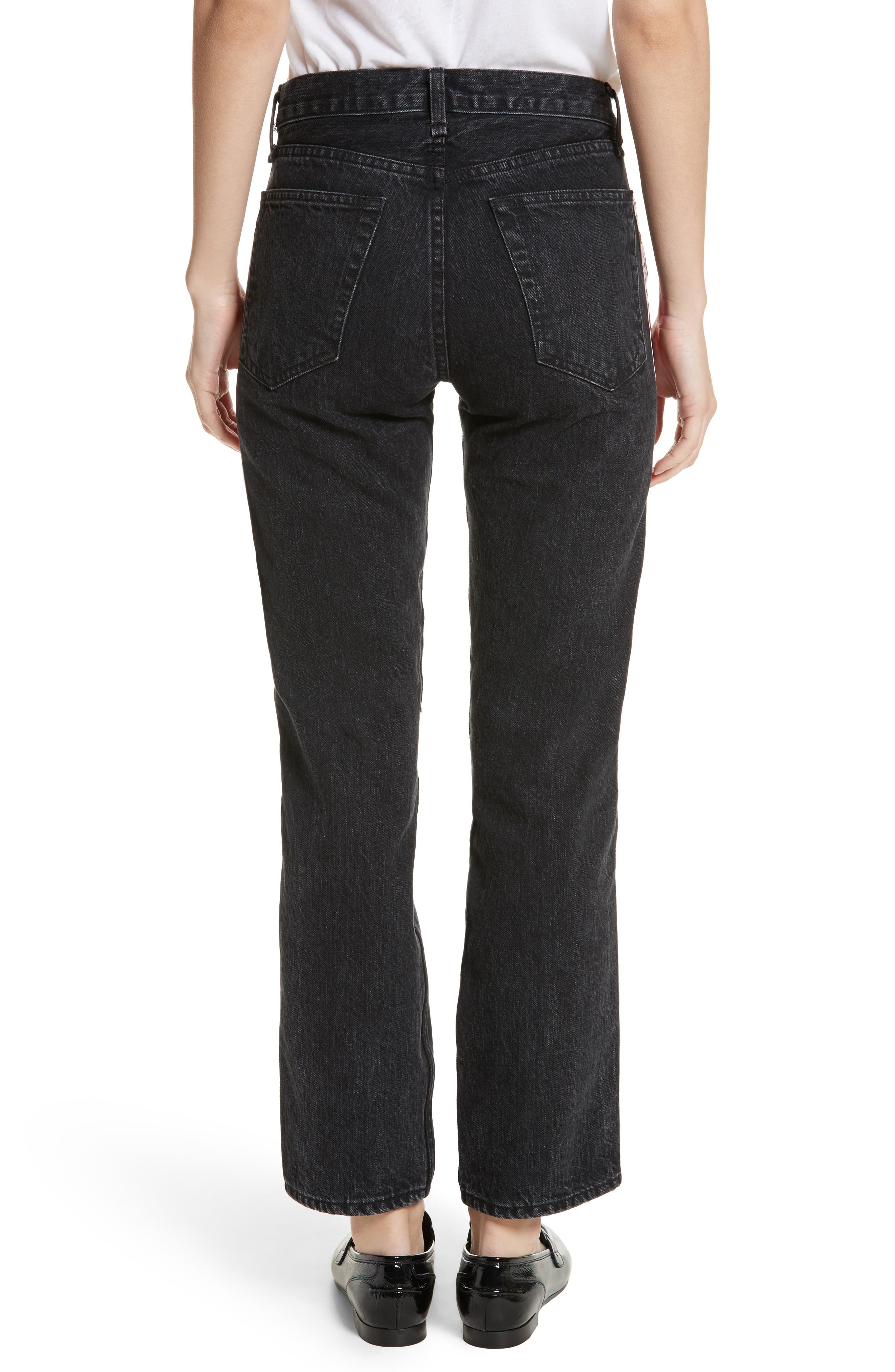 High Waist Straight Leg Jeans,                             Alternate thumbnail 2, color,                             Washed Black