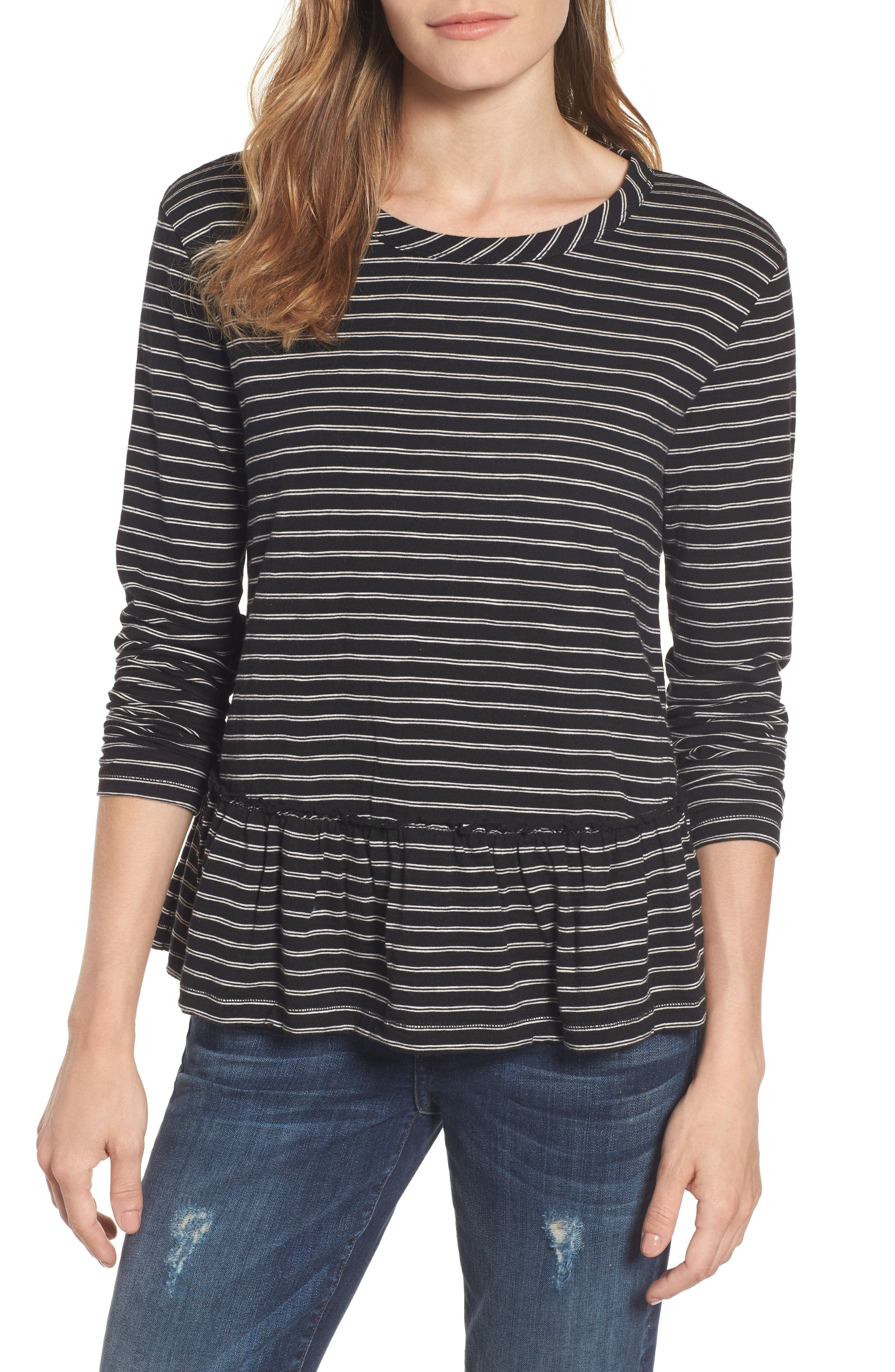 Peplum Tee,                         Main,                         color, Black- Beige Stripe