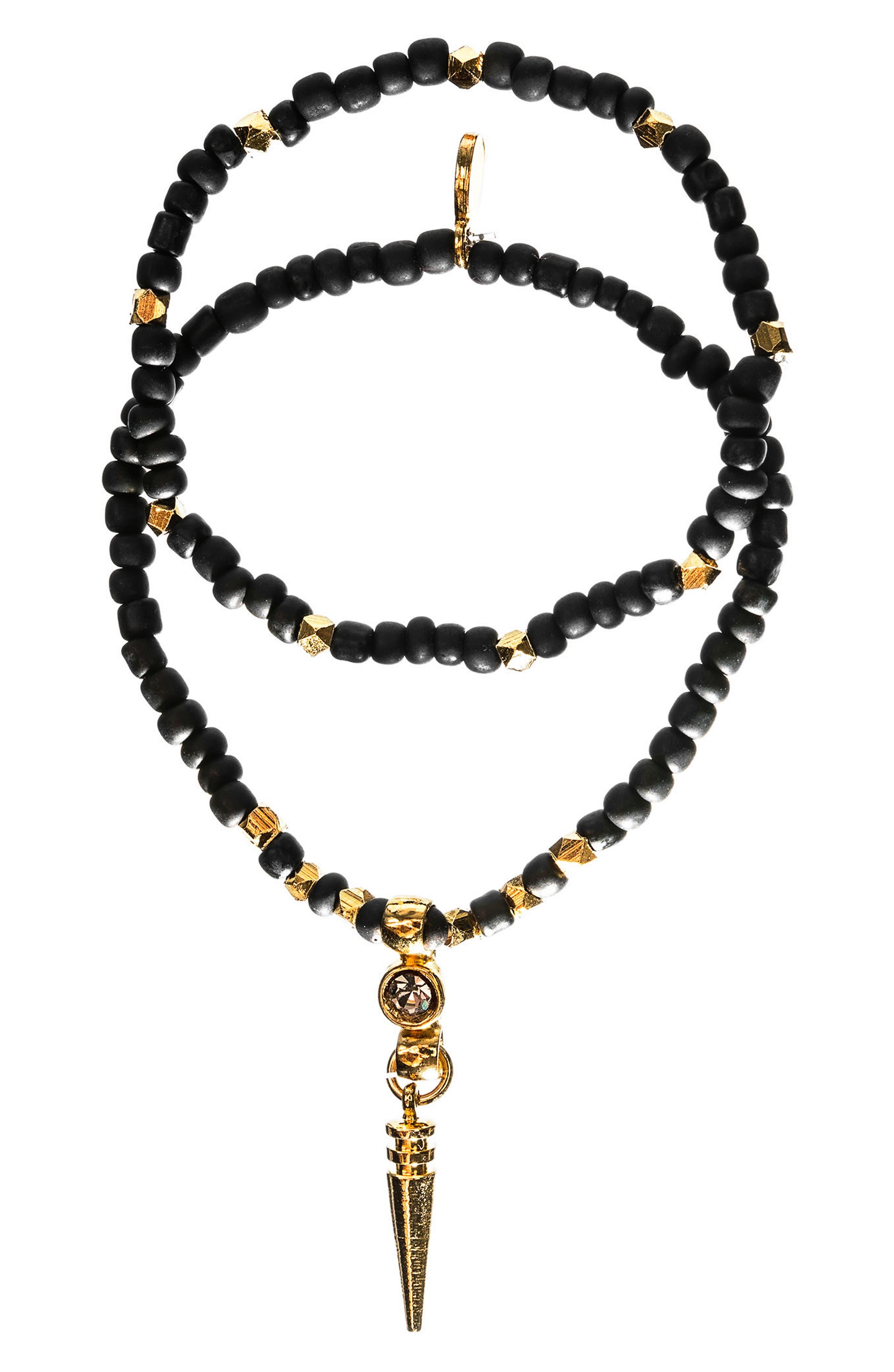 Main Image - MHART Crystal Spike Set of 2 Beaded Stretch Bracelets