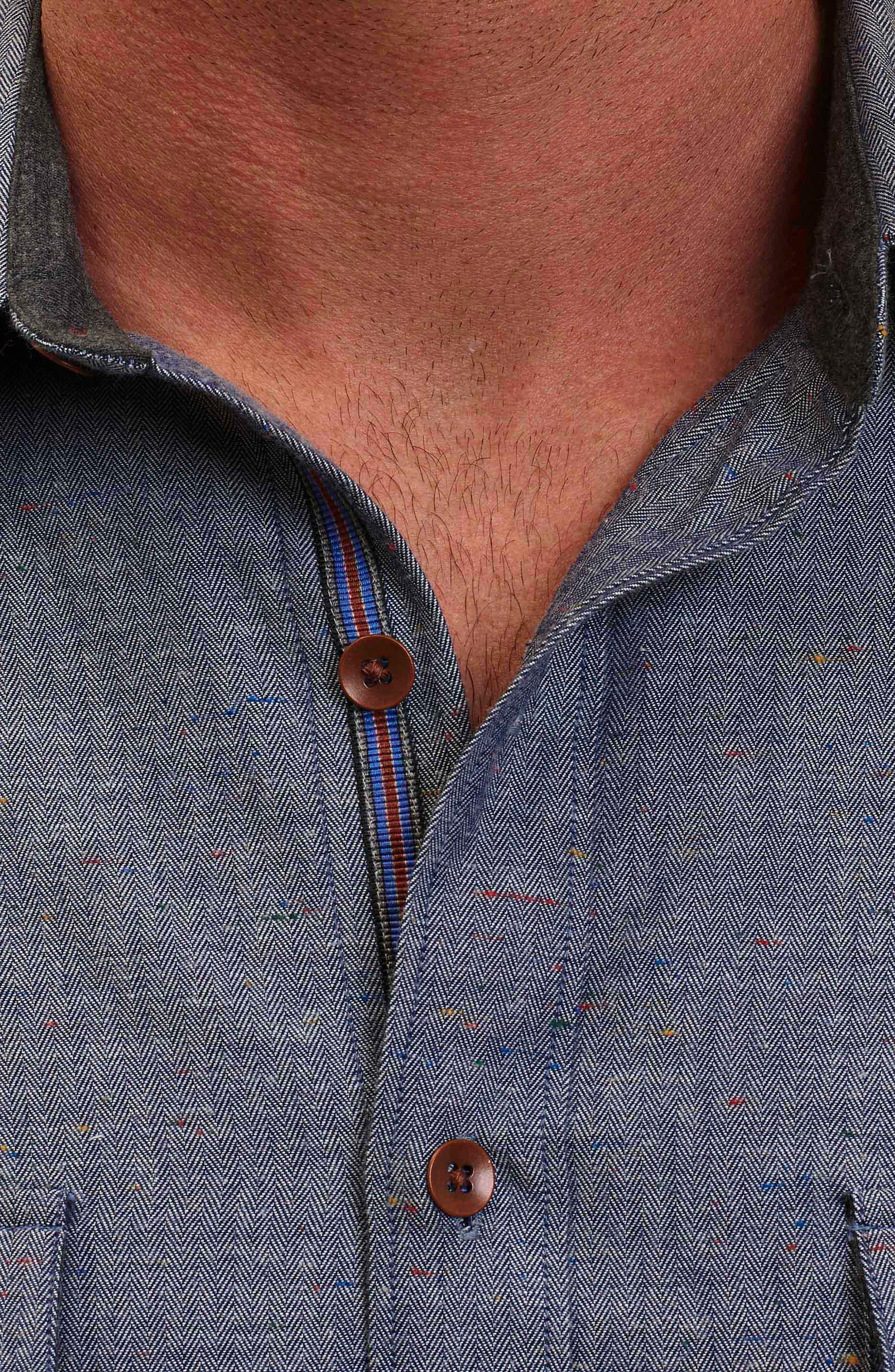 Alternate Image 5  - Robert Graham Upstate Classic Fit Herringbone Sport Shirt