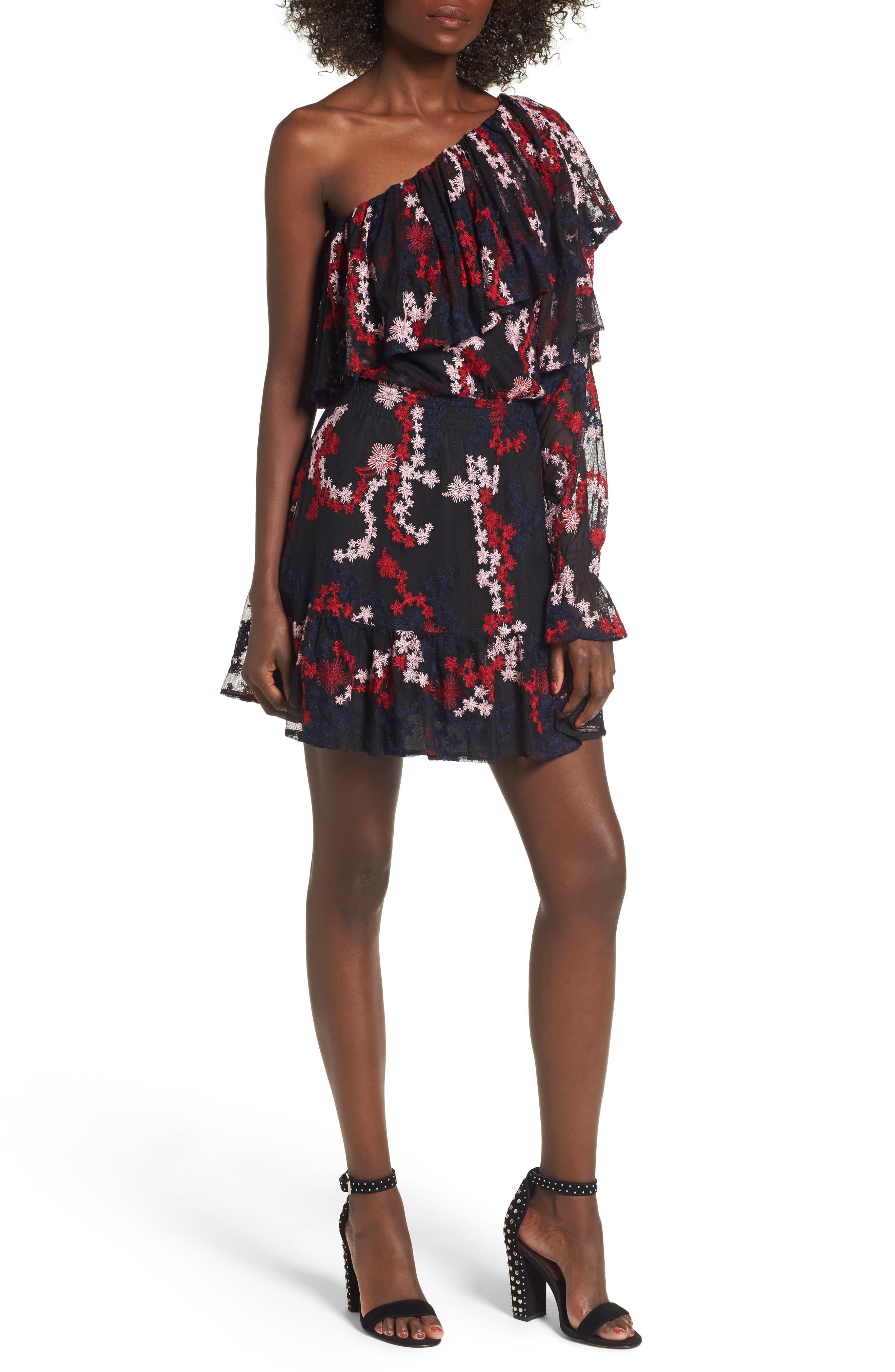 Irina One-Shoulder Blouson Dress,                         Main,                         color, Multi
