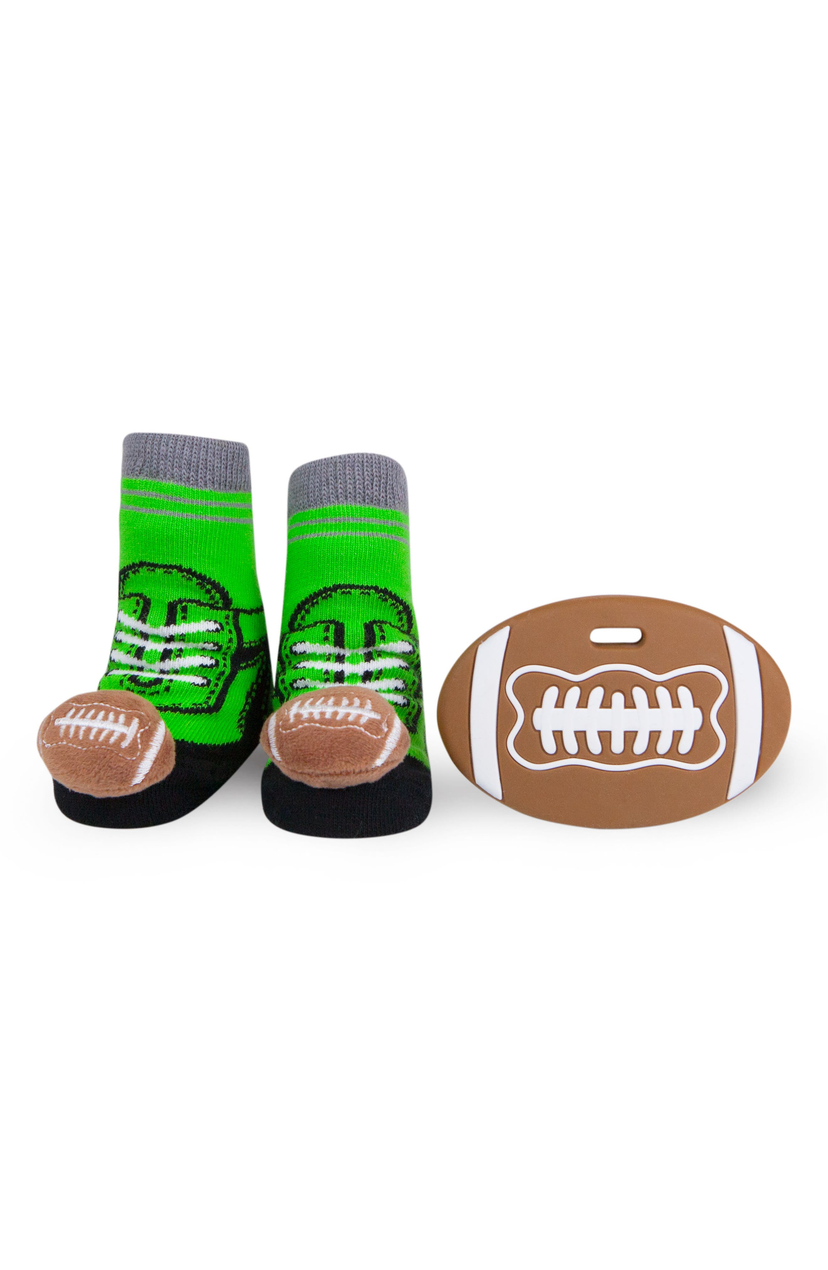 Football Rattle Socks & Teether Gift Set,                             Main thumbnail 1, color,                             Brown