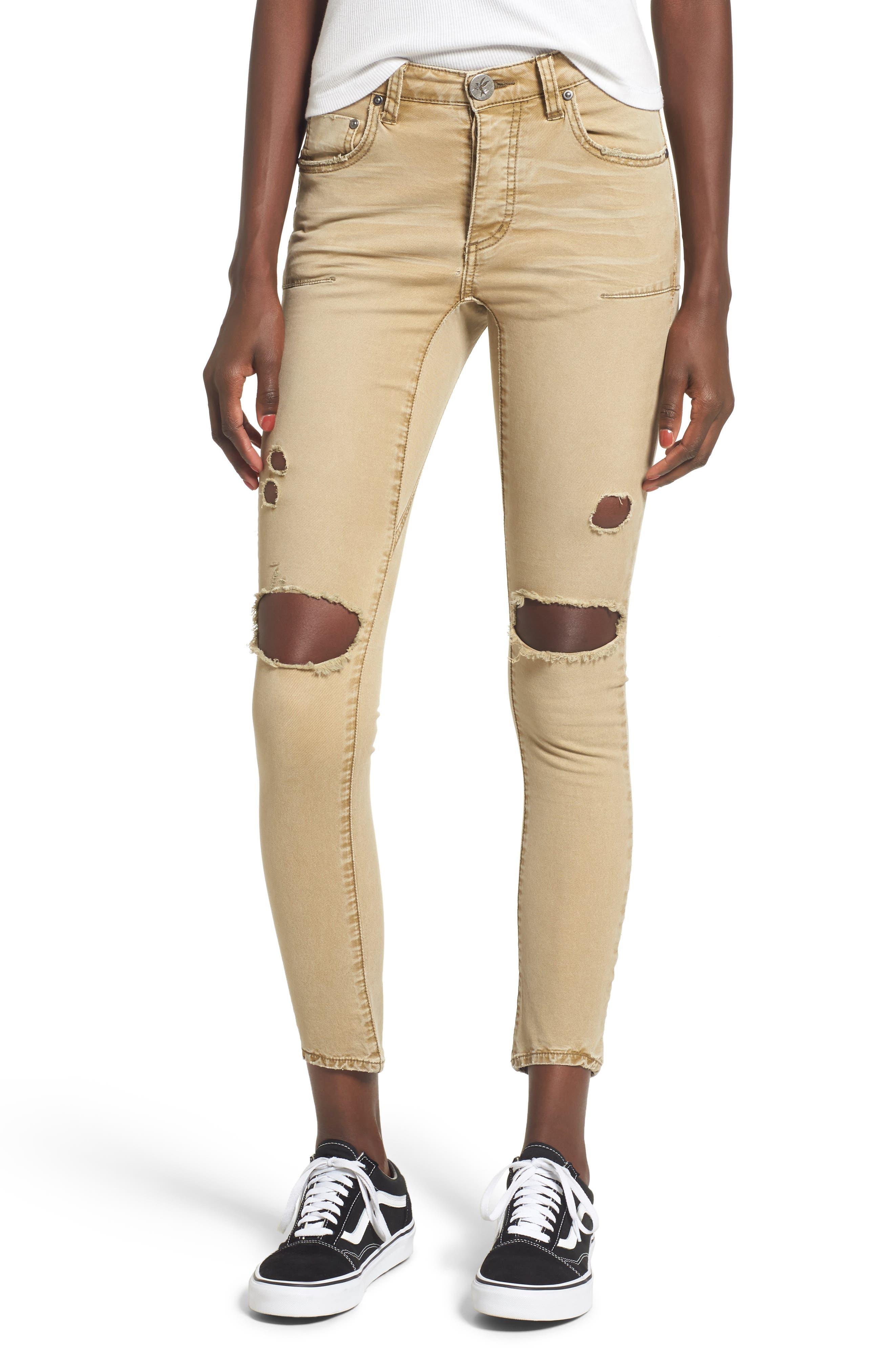 Main Image - One Teaspoon Freebirds Ripped Low Waist Skinny Jeans (Tobacco)