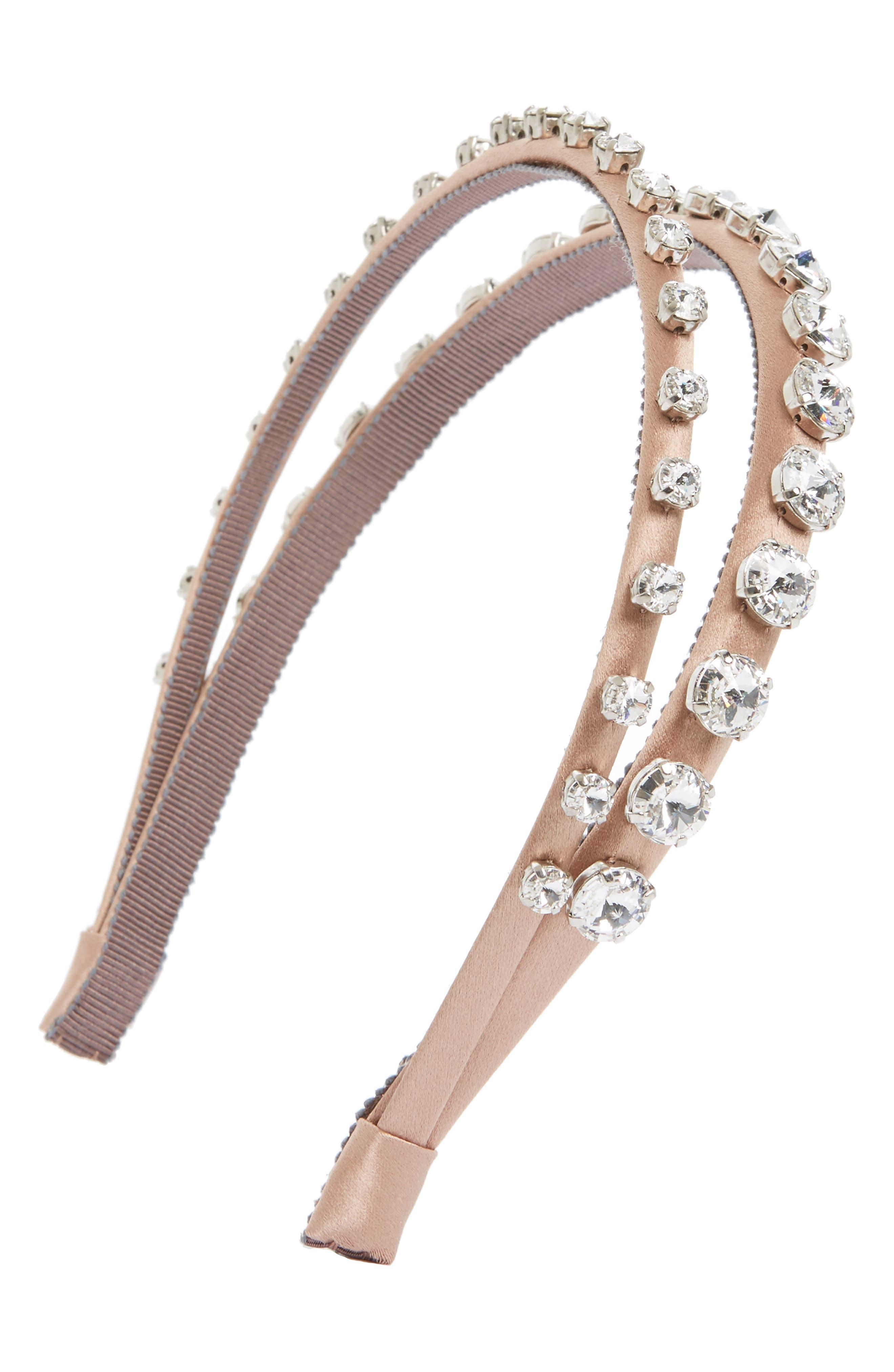 MIU MIU Raso Swarovski Crystal Double Headband