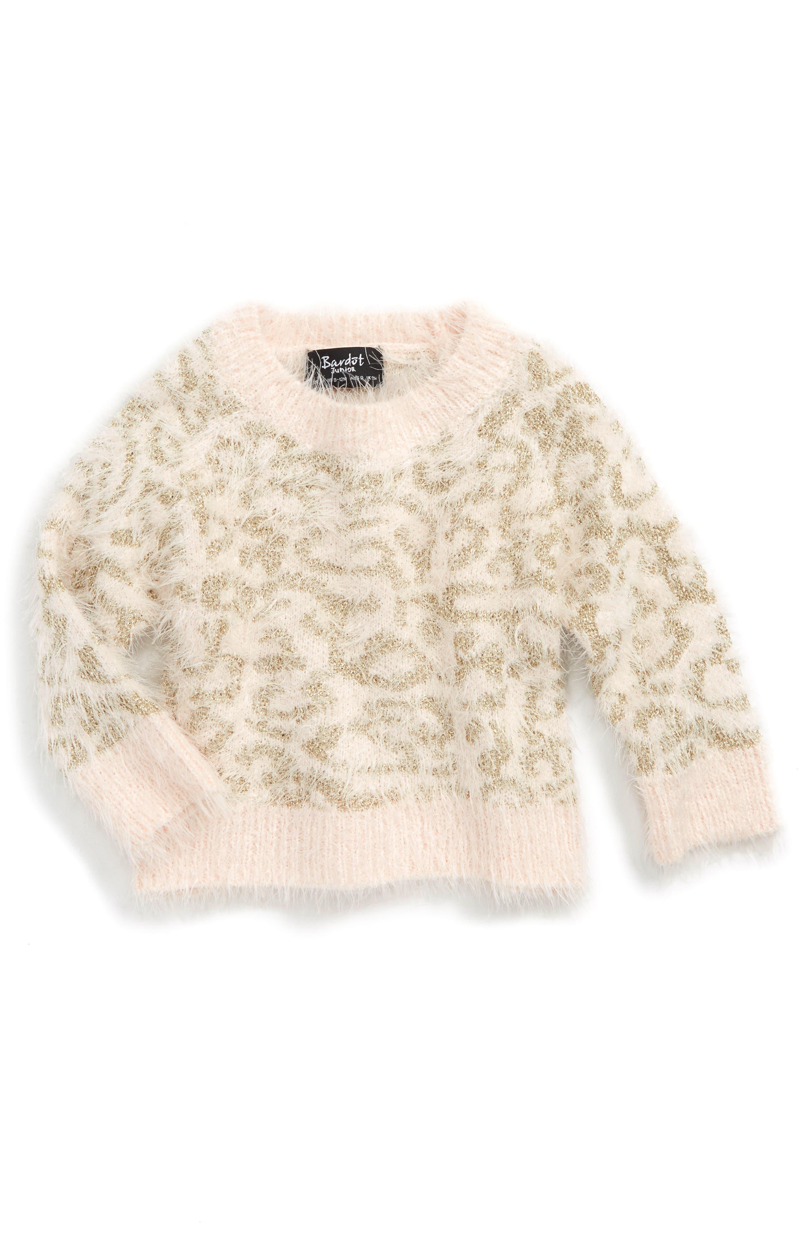 Main Image - Bardot Junior Fluffy Leopard Sweater (Baby Girls & Toddler Girls)