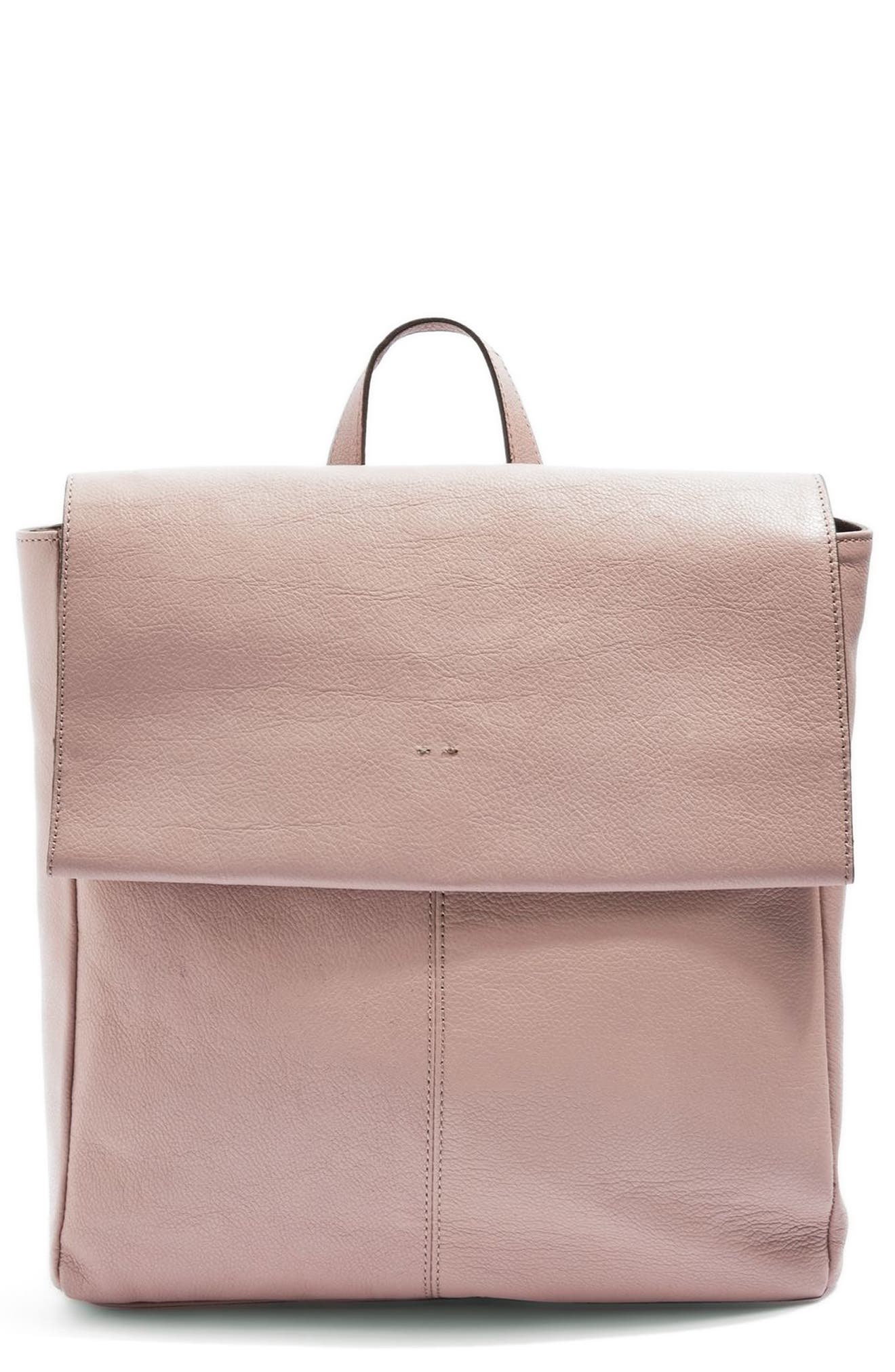 TOPSHOP Calfskin Leather Backpack