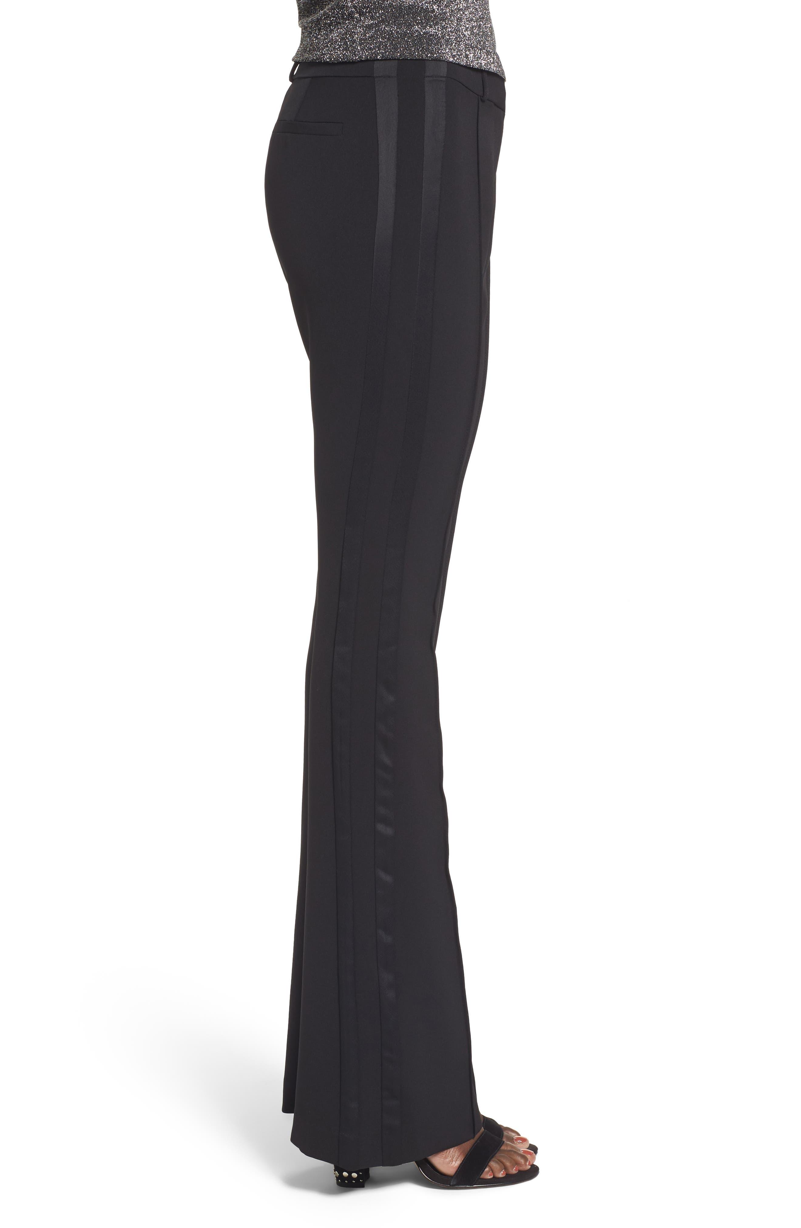 Roxy Flare Leg Pants,                             Alternate thumbnail 3, color,                             Black