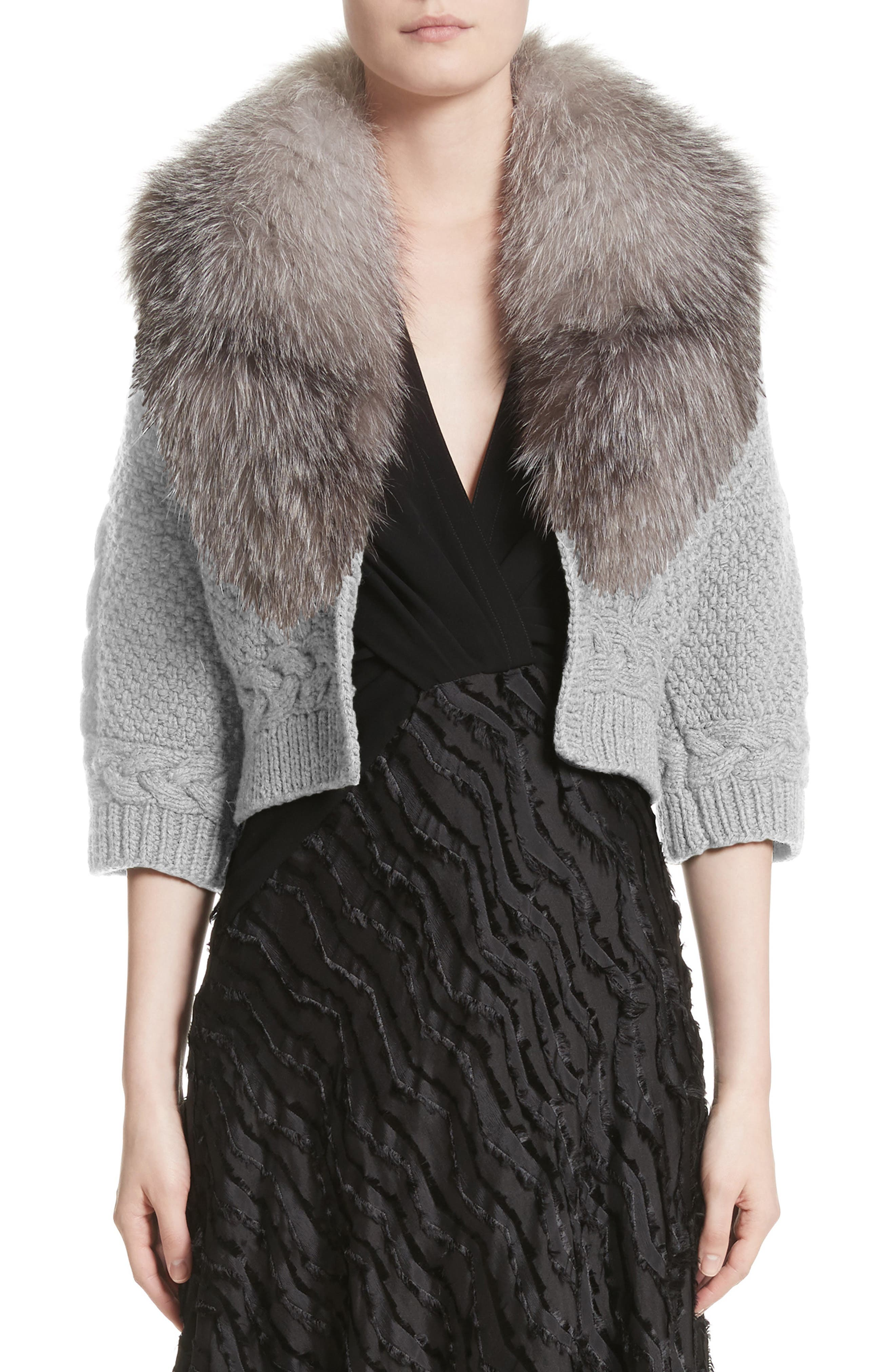 Merino Wool & Cashmere Knit Bolero with Removable Genuine Fox Fur Collar,                         Main,                         color, Grey