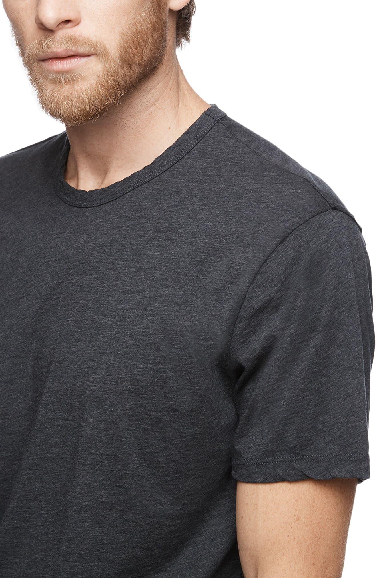 Clean Crewneck Cotton & Cashmere T-Shirt,                             Alternate thumbnail 3, color,                             Heather Navy