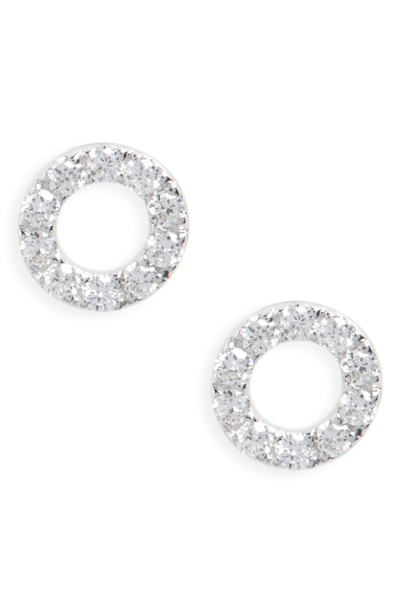 Simple Obsessions Geo Circle Diamond Stud Earrings,                             Main thumbnail 1, color,                             White Gold