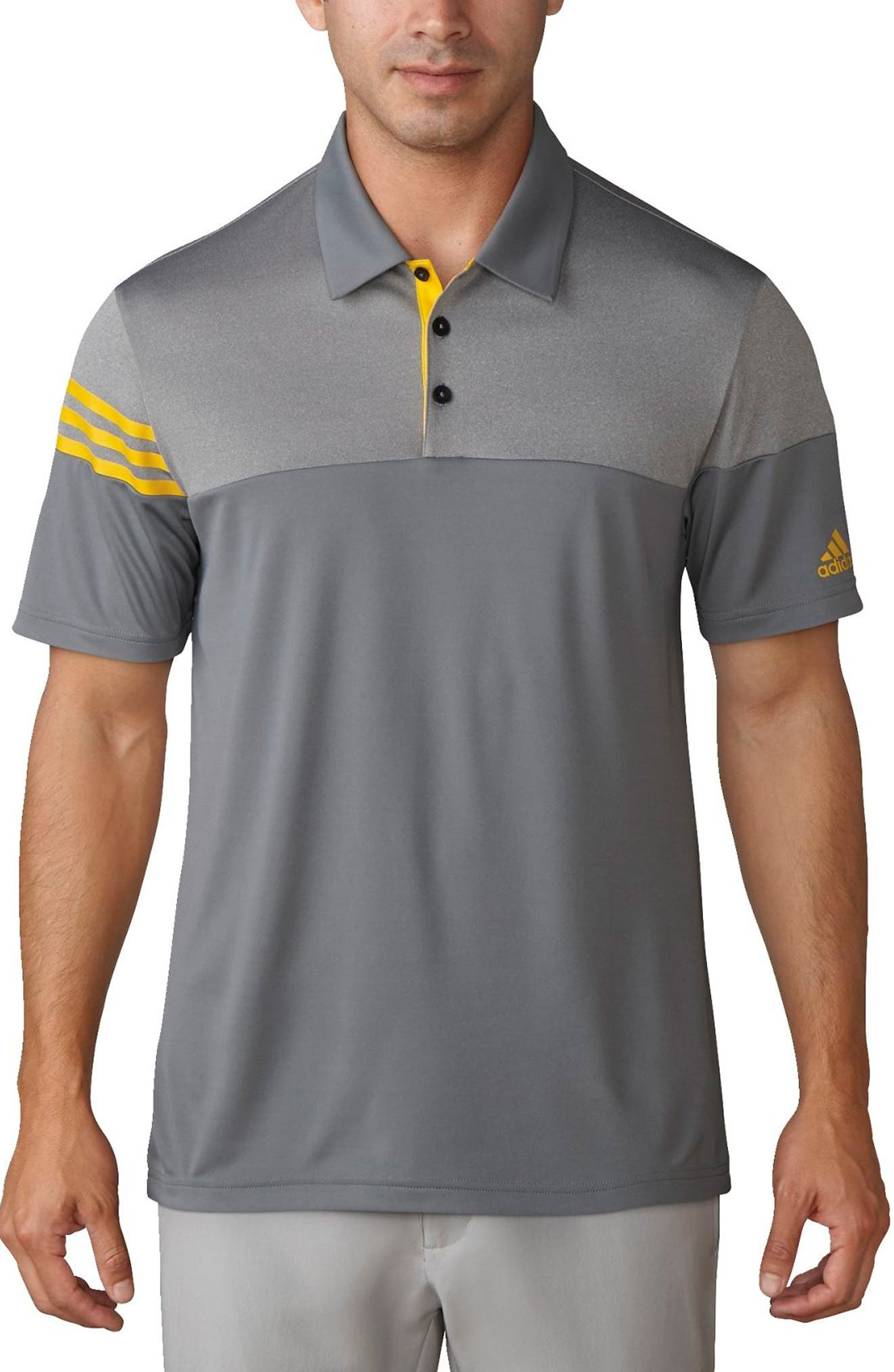 Regular Fit 3-Stripes Golf Polo,                             Main thumbnail 1, color,                             Vista Grey