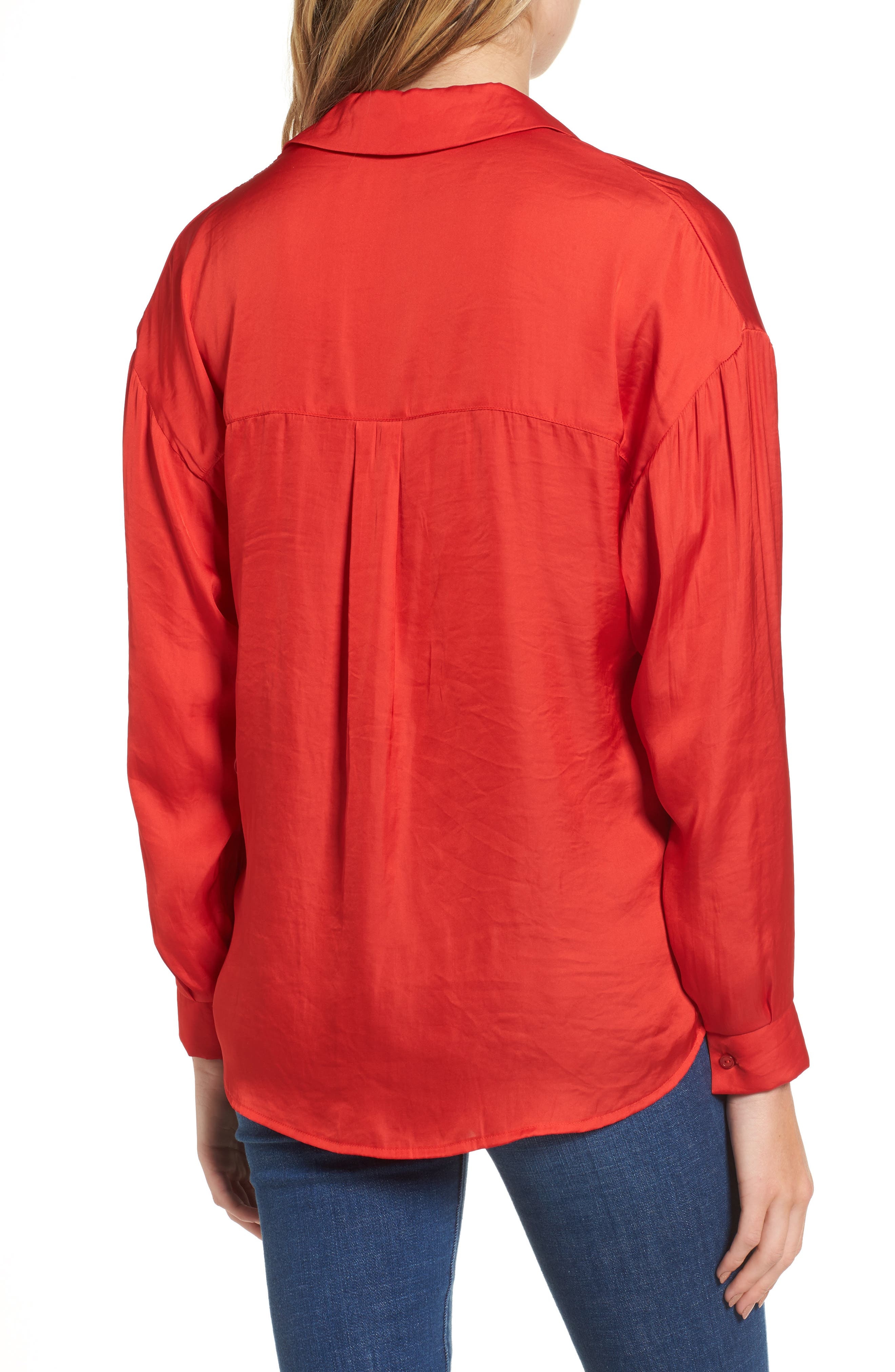 Satin Henley,                             Alternate thumbnail 2, color,                             Firey Red