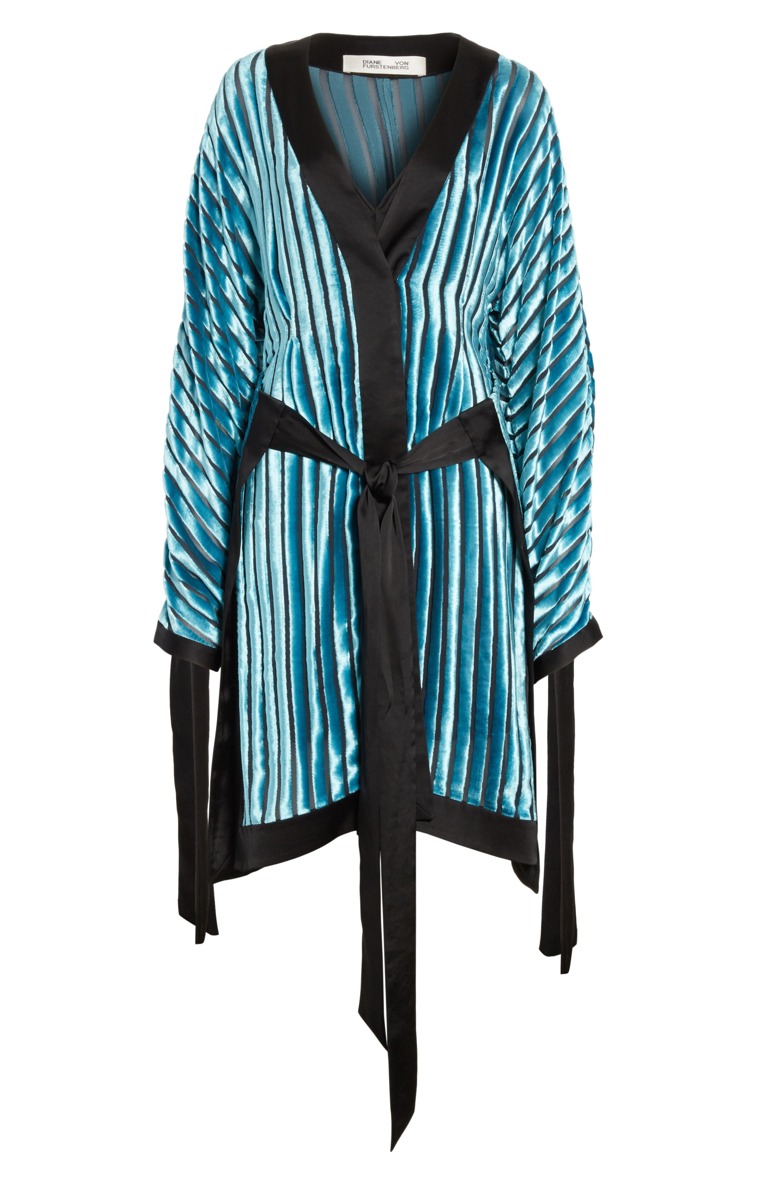 Velvet Burnout Kimono Dress,                             Alternate thumbnail 5, color,                             Black/ Marine