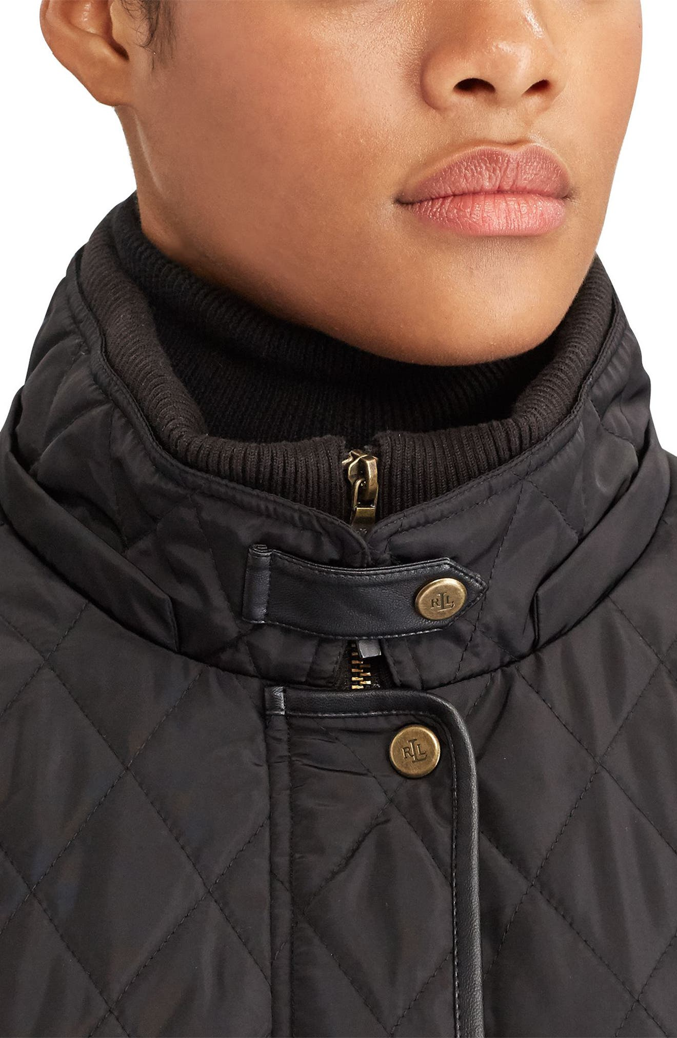 Diamond Quilted Jacket with Faux Leather Trim,                             Alternate thumbnail 3, color,                             Black