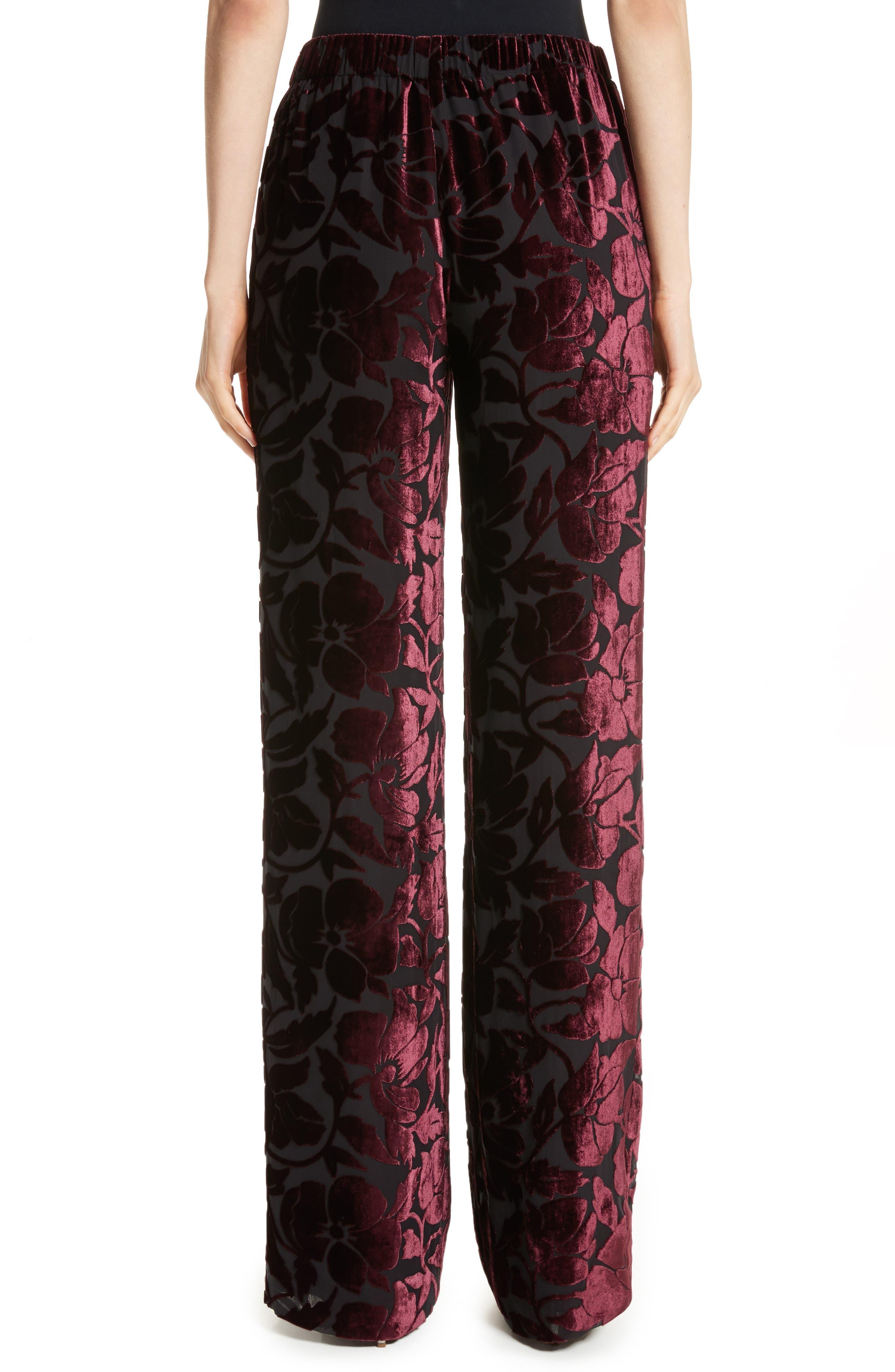 Velvet Floral Burnout Pants,                             Alternate thumbnail 2, color,                             Fig/ Caviar