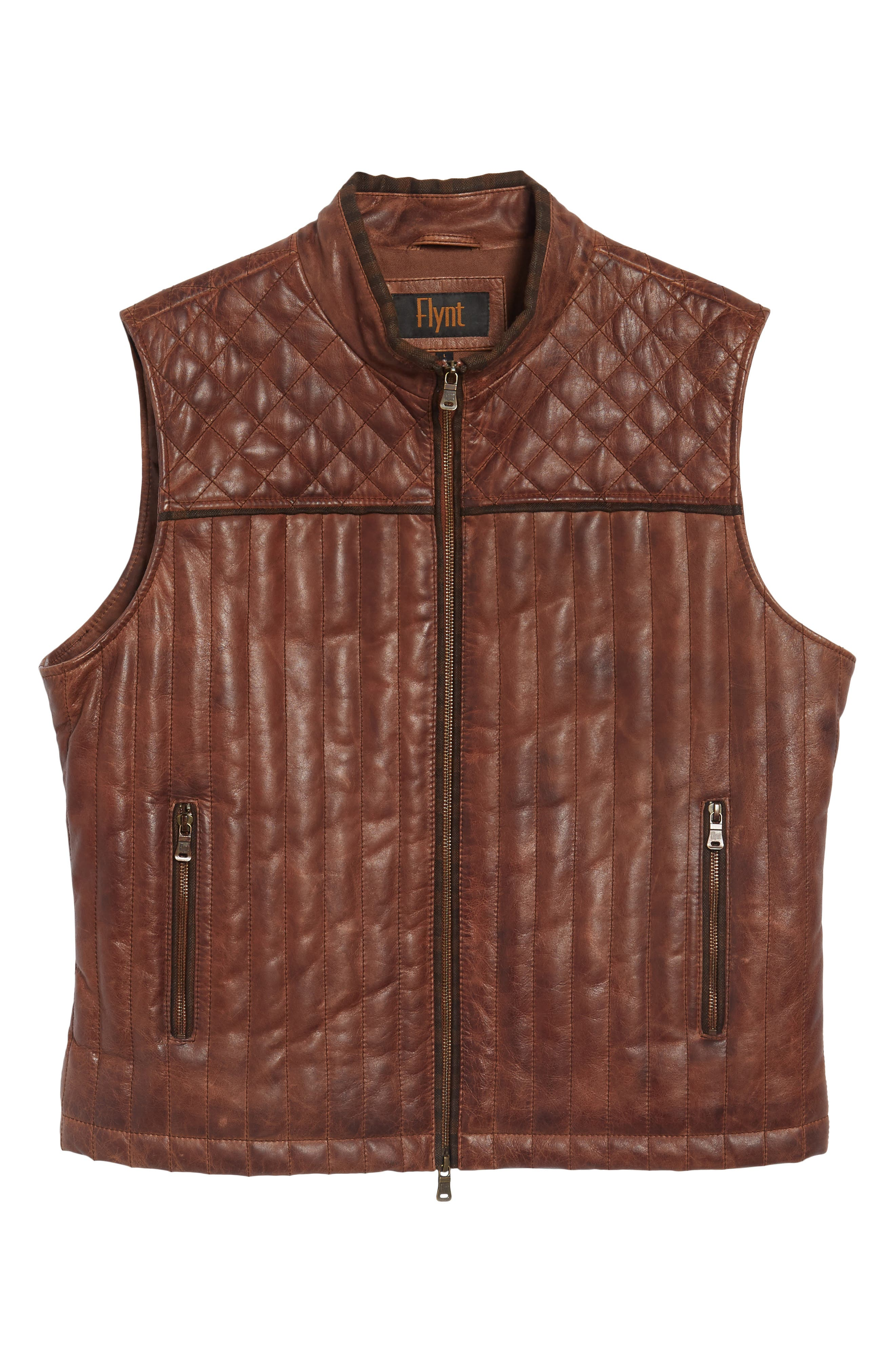 Quilted Leather Vest,                             Alternate thumbnail 6, color,                             Brown