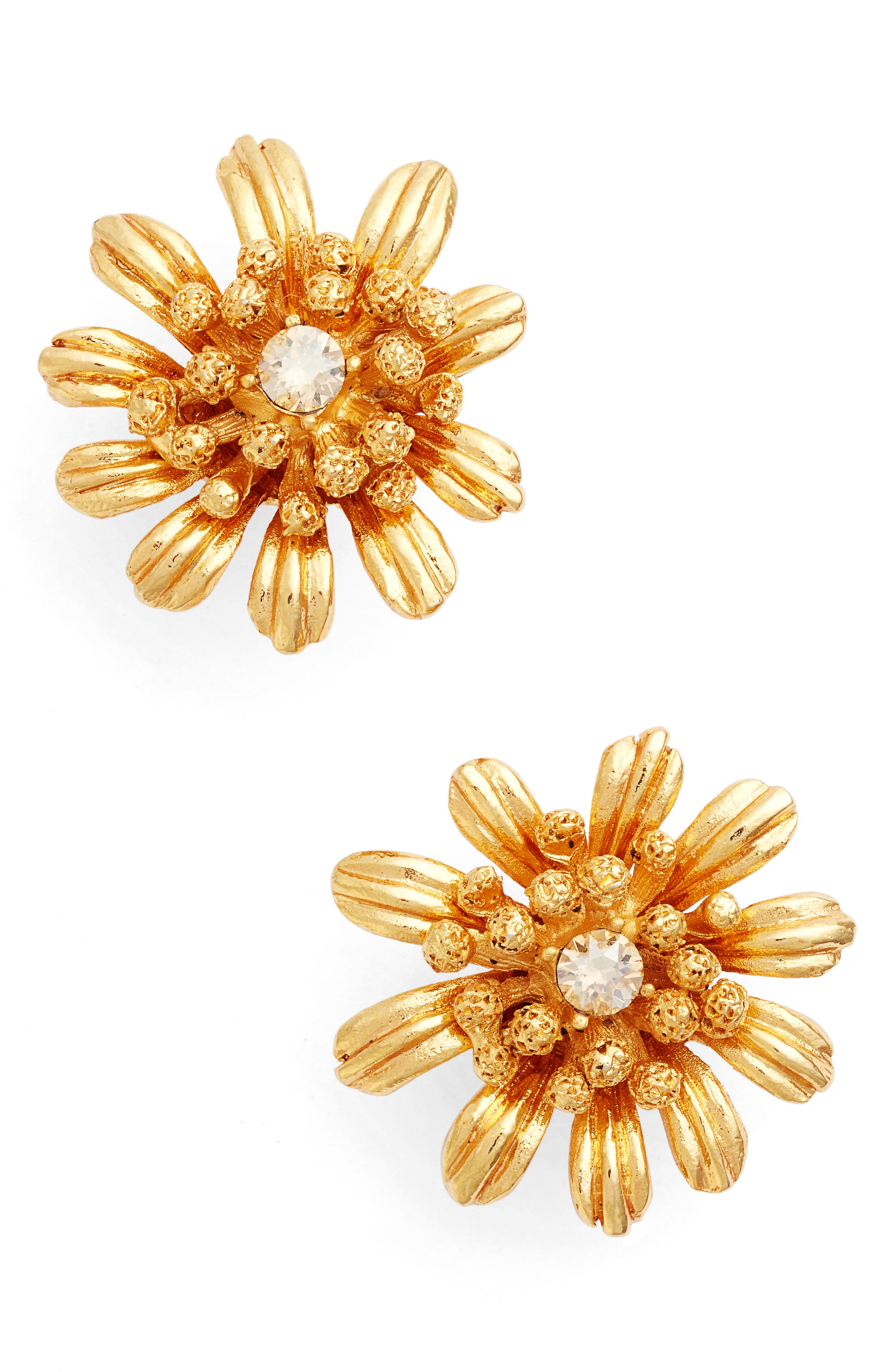 Oscar de la Renta Gilded Floral Button Earrings
